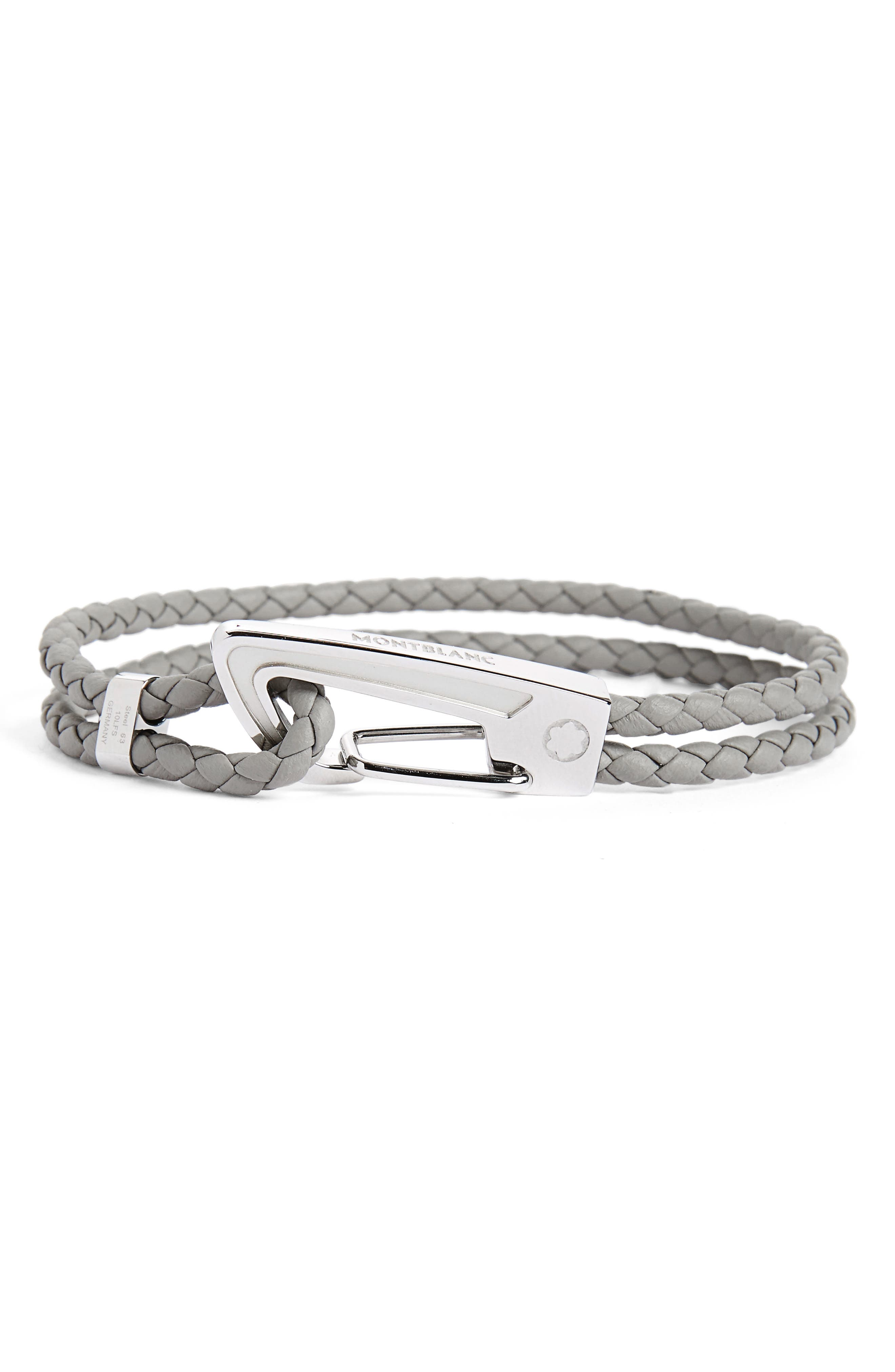 MONTBLANC Braided Leather Bracelet, Main, color, GRAY