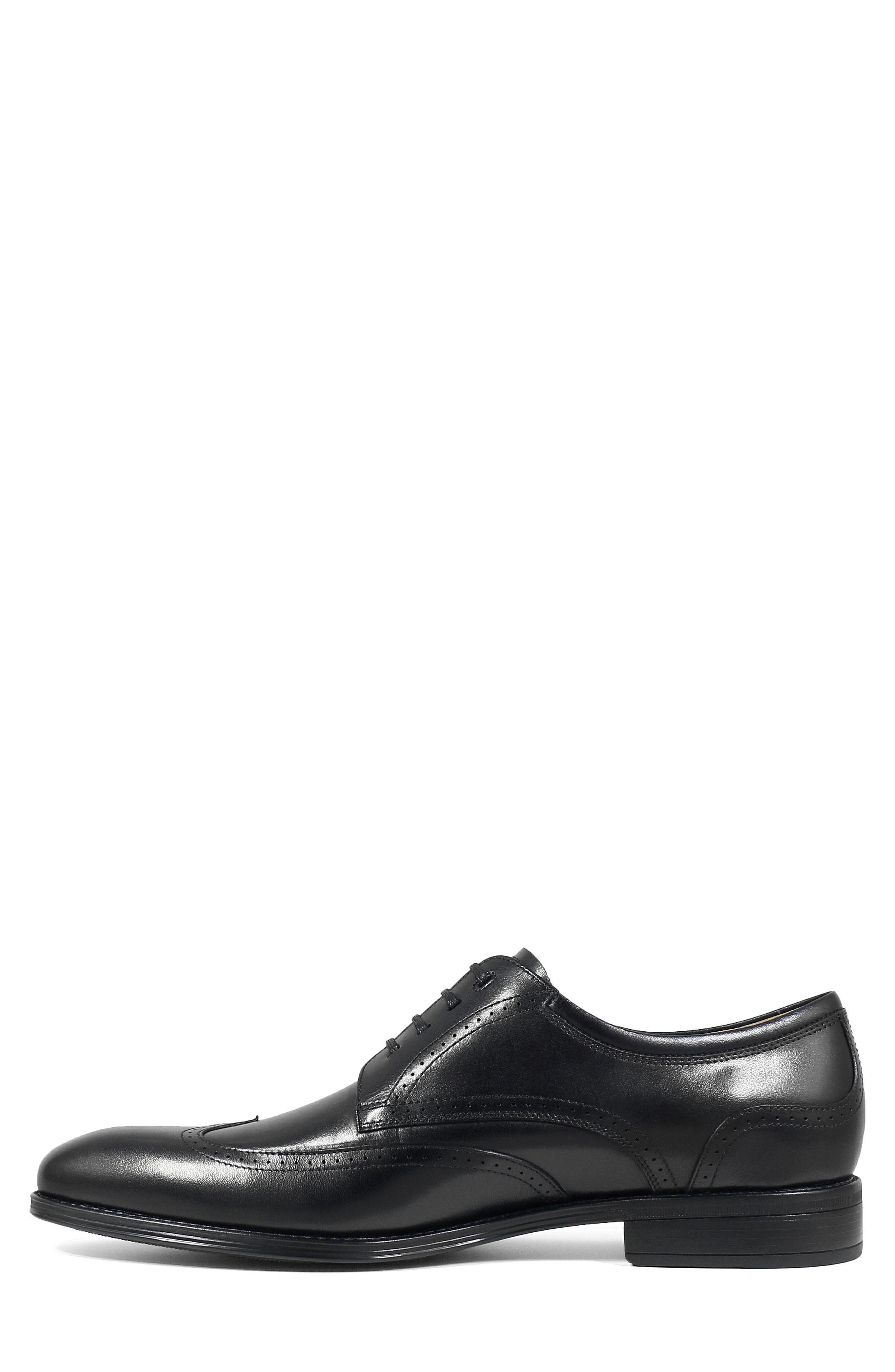 FLORSHEIM, Cardinelli Wingtip, Alternate thumbnail 8, color, BLACK LEATHER