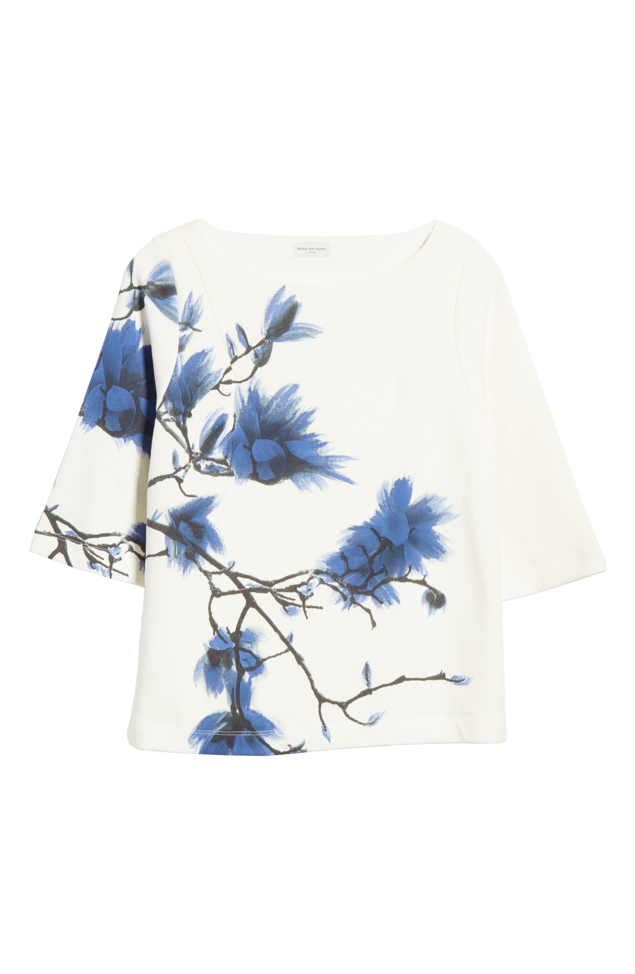 DRIES VAN NOTEN, Haendel Hand Painted Floral Top, Alternate thumbnail 6, color, BLACK