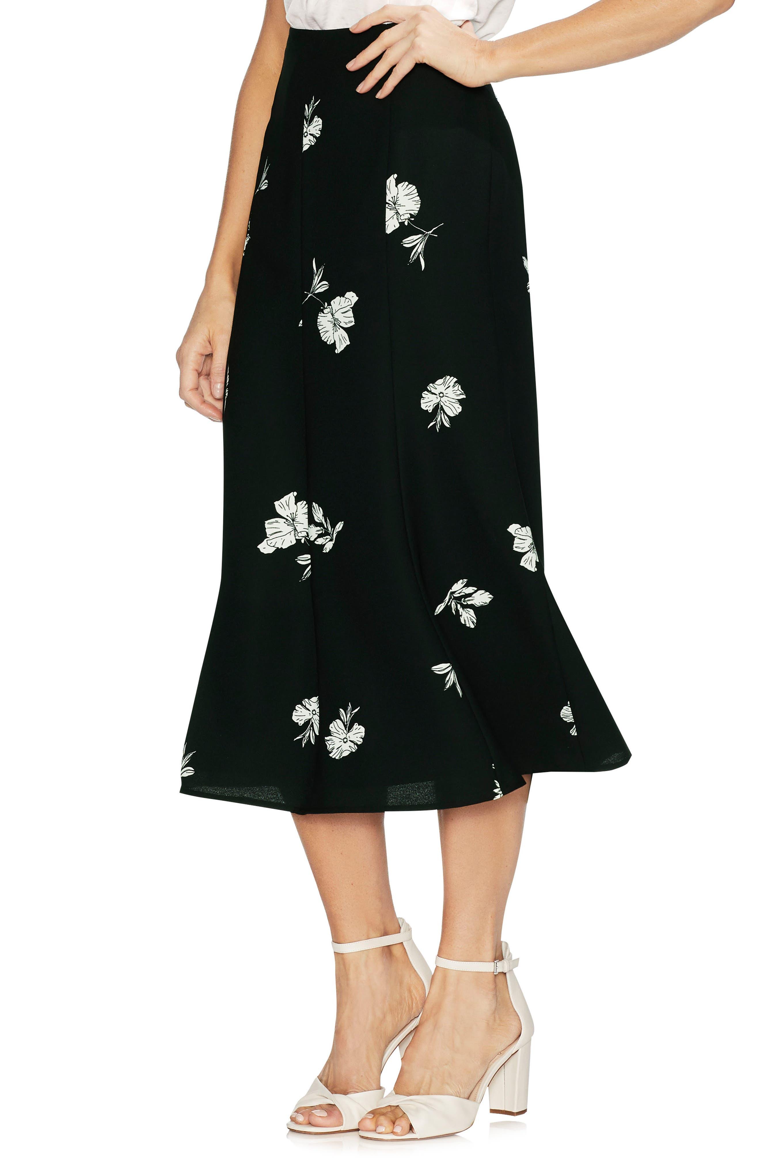 VINCE CAMUTO, Floral Print Skirt, Main thumbnail 1, color, 006