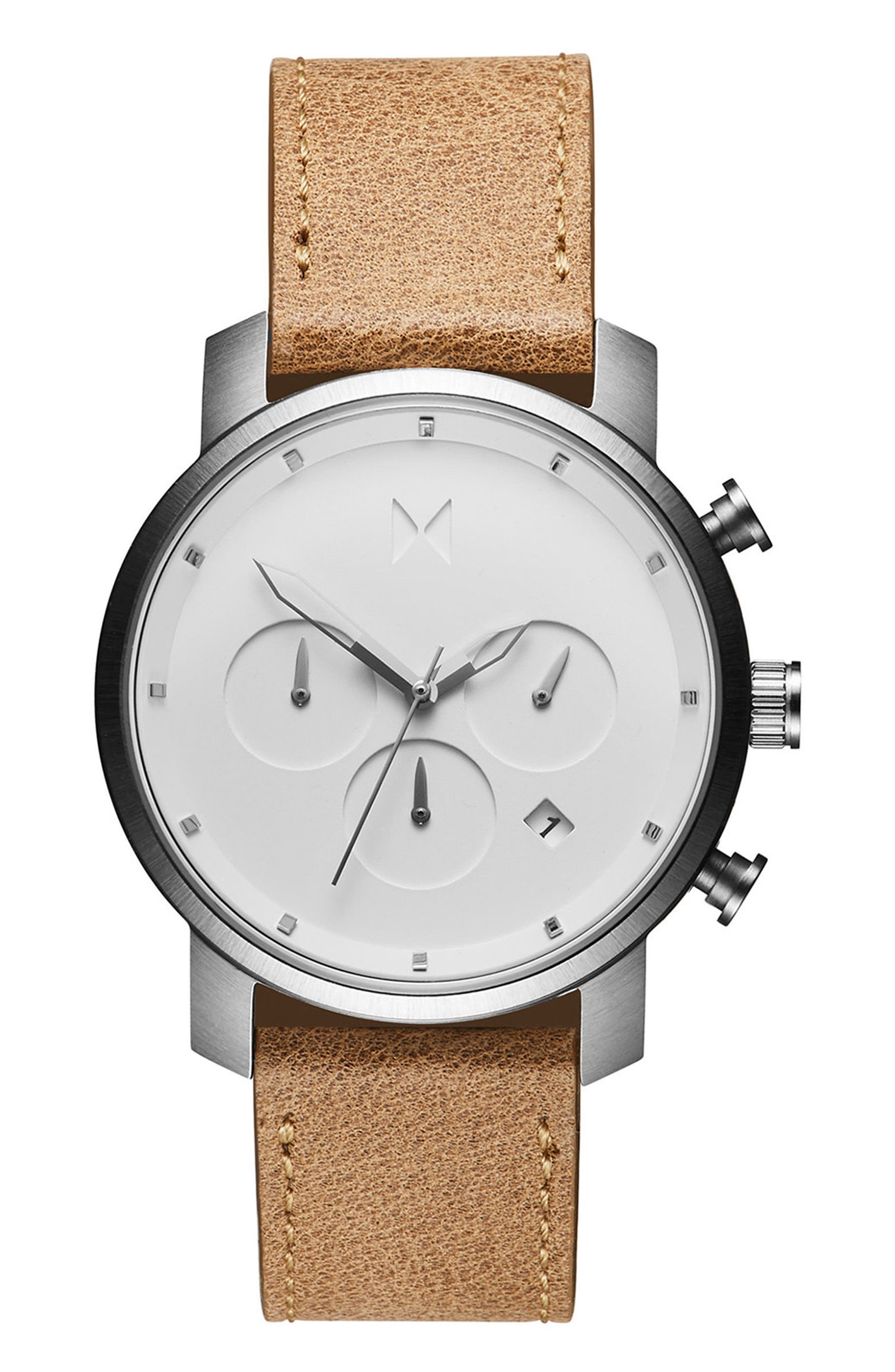 MVMT, The Chrono Chronograph Leather Strap Watch, 40mm, Main thumbnail 1, color, CARAMEL/ WHITE