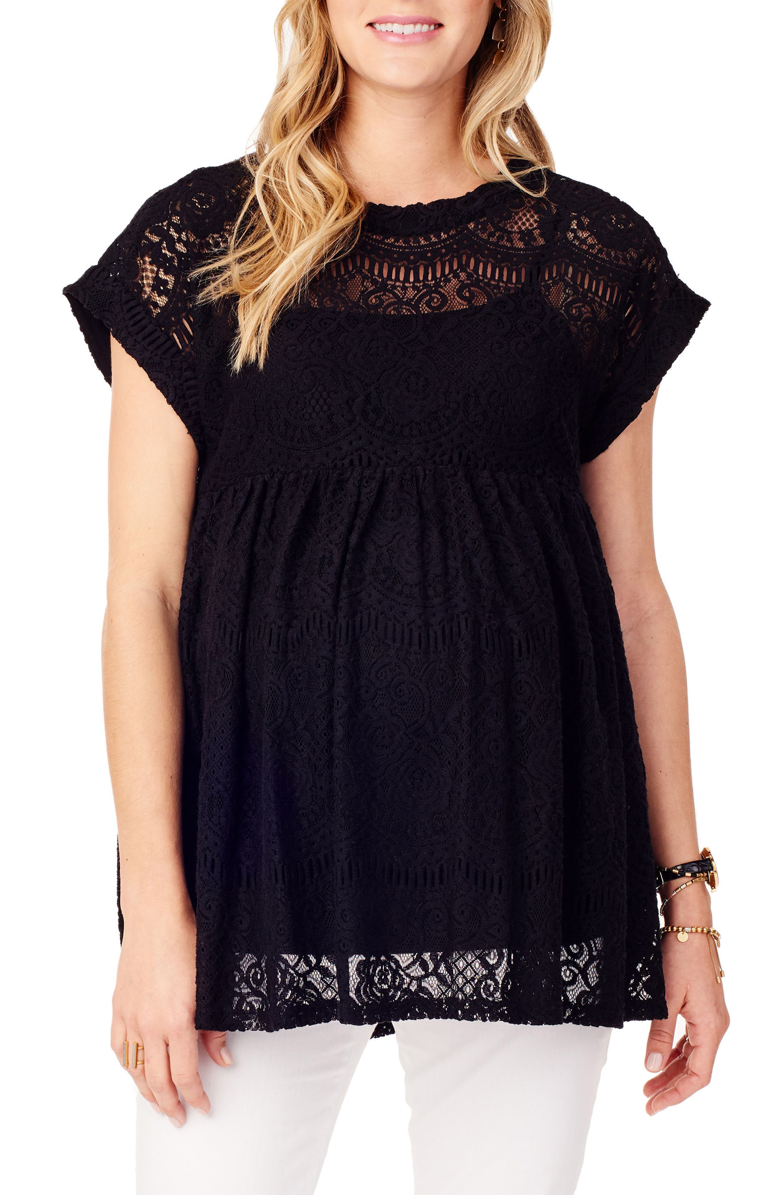 INGRID & ISABEL<SUP>®</SUP>, Lace Maternity Swing Top, Main thumbnail 1, color, JET BLACK