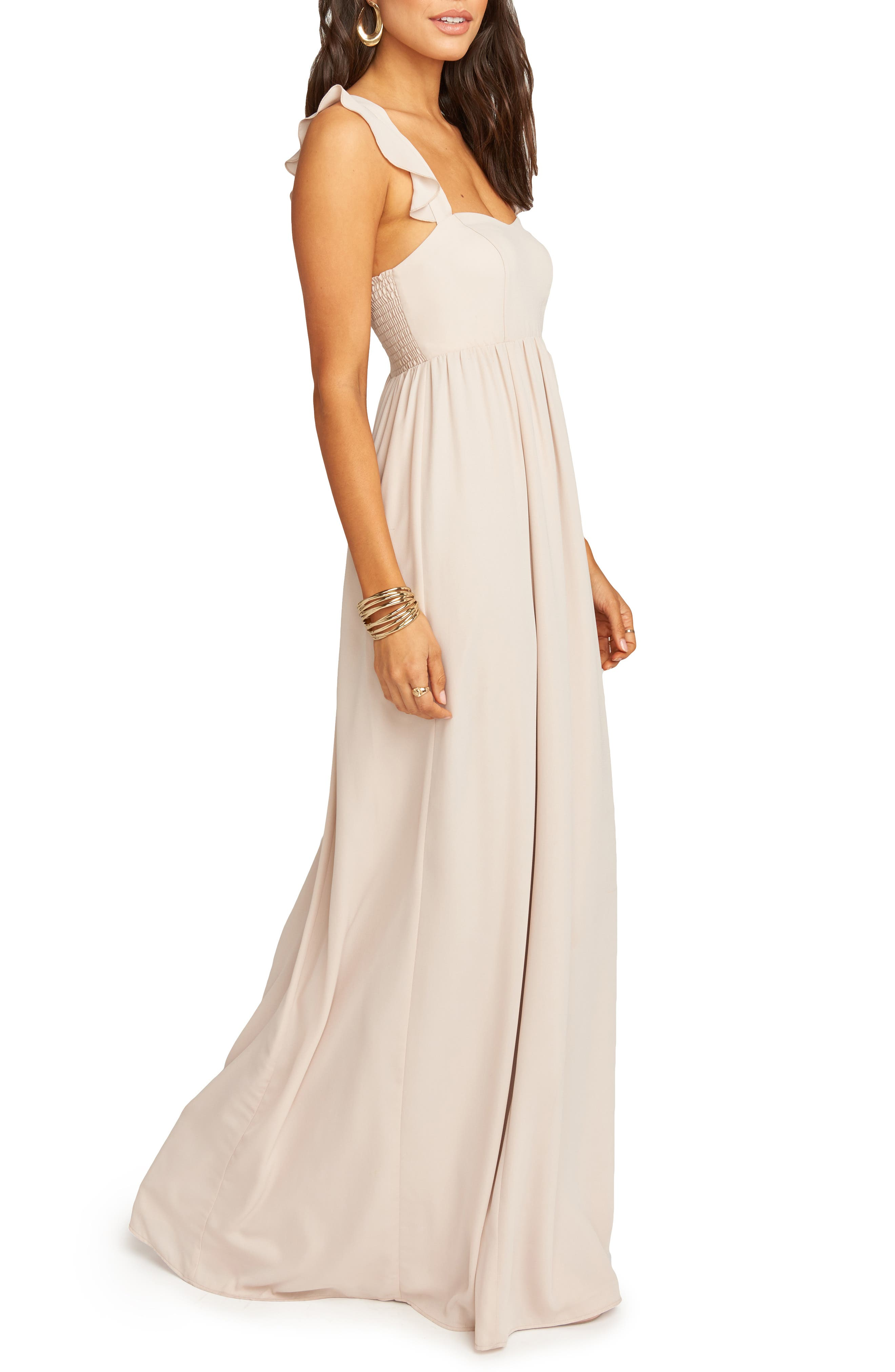 SHOW ME YOUR MUMU, June Ruffle Strap Evening Dress, Alternate thumbnail 4, color, SHOW ME THE RING