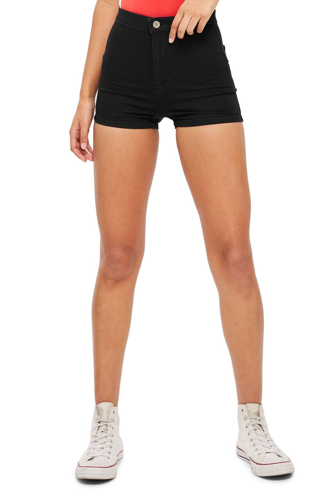 TOPSHOP, Joni High Waist Denim Shorts, Alternate thumbnail 3, color, BLACK