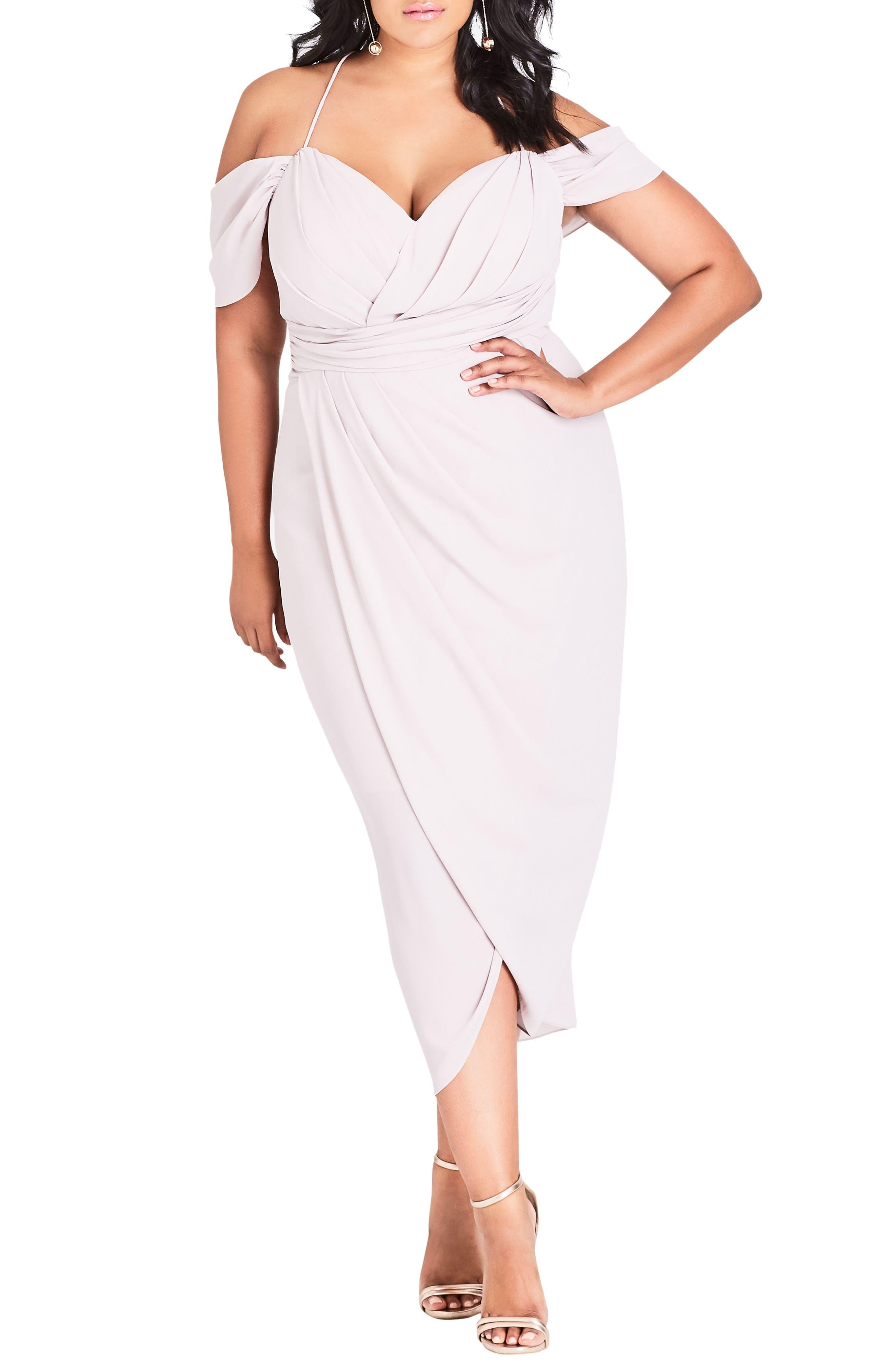 CITY CHIC Entwine Cold Shoulder Maxi Dress, Main, color, SOFT BLUSH