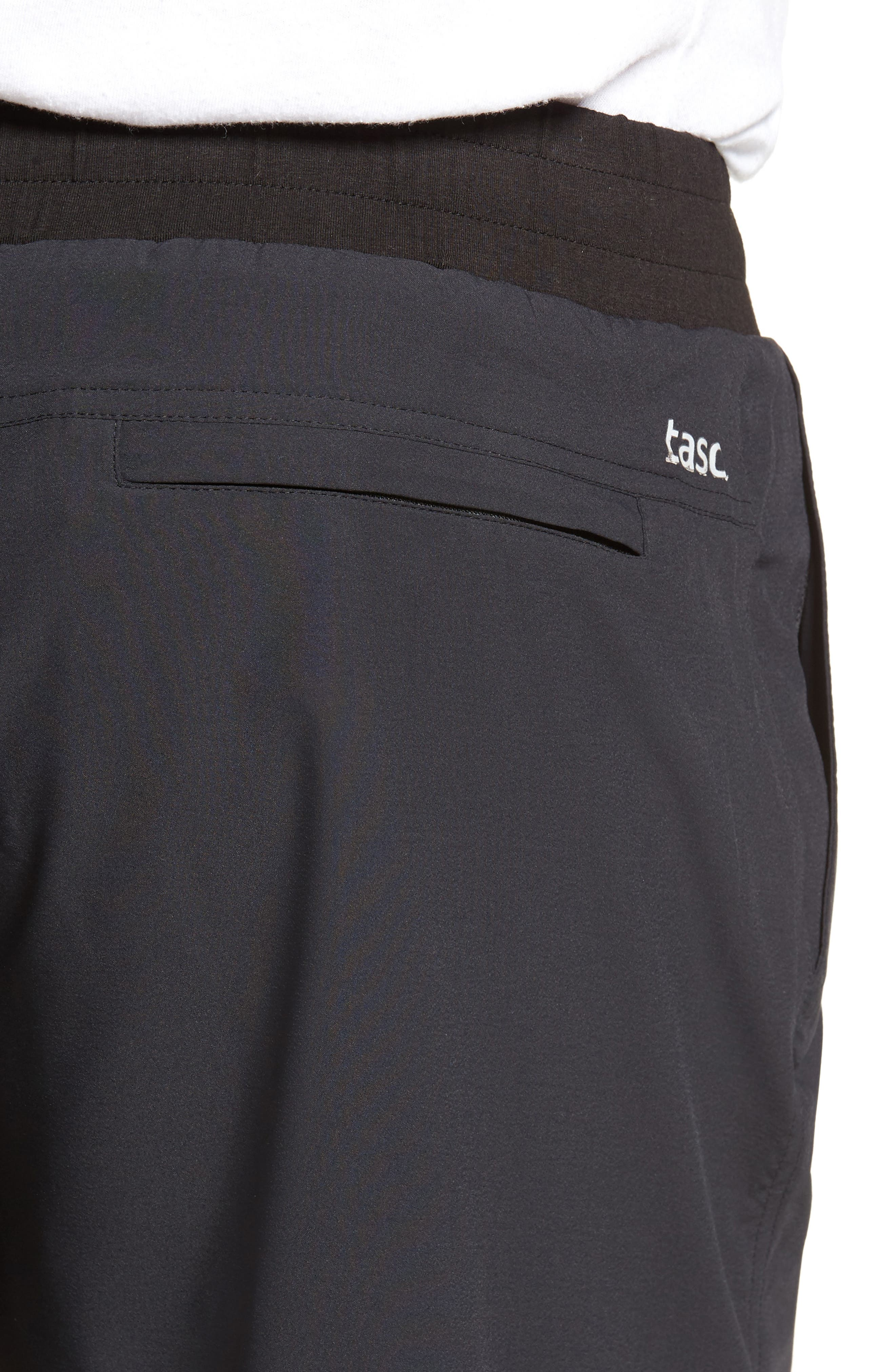 TASC PERFORMANCE, Charge Water Resistant Athletic Shorts, Alternate thumbnail 5, color, BLACK