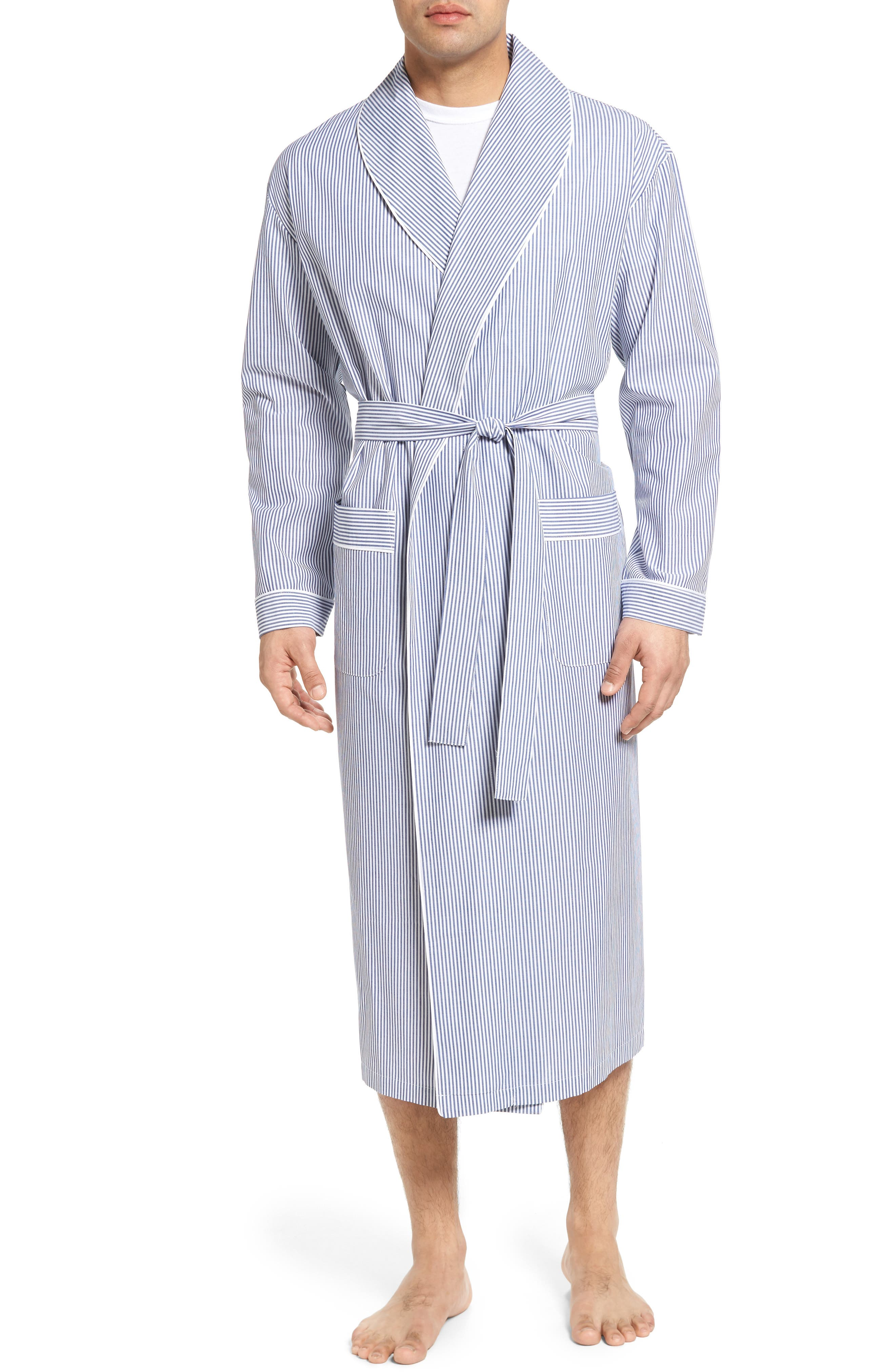 MAJESTIC INTERNATIONAL, Bengal Stripe Robe, Main thumbnail 1, color, NAVY/ WHITE