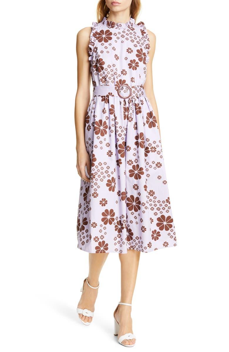 KATE SPADE NEW YORK flora spade midi dress, Main, color, FROZEN LILAC