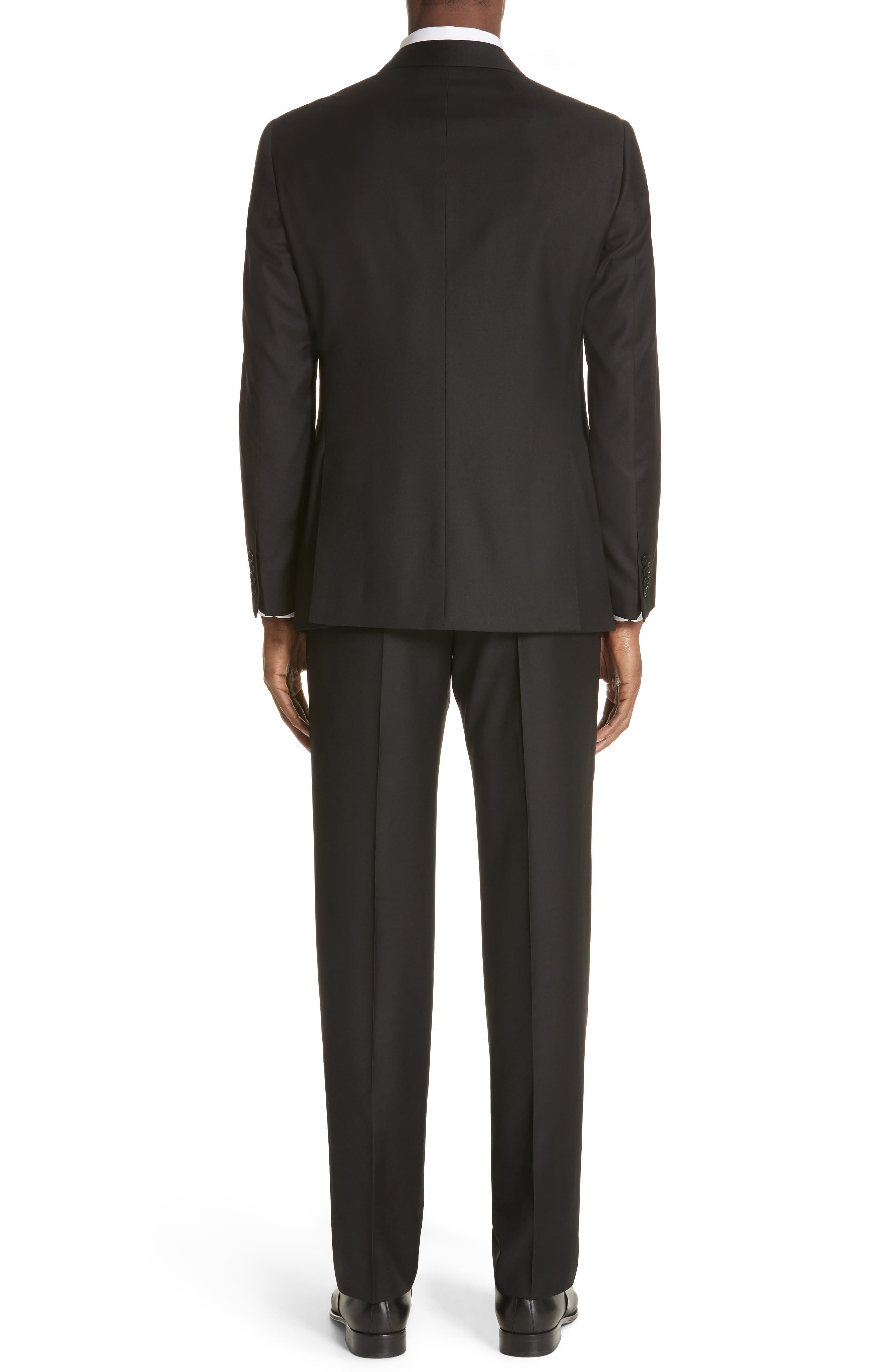 EMPORIO ARMANI, Trim Fit Solid Wool Suit, Alternate thumbnail 2, color, BLACK