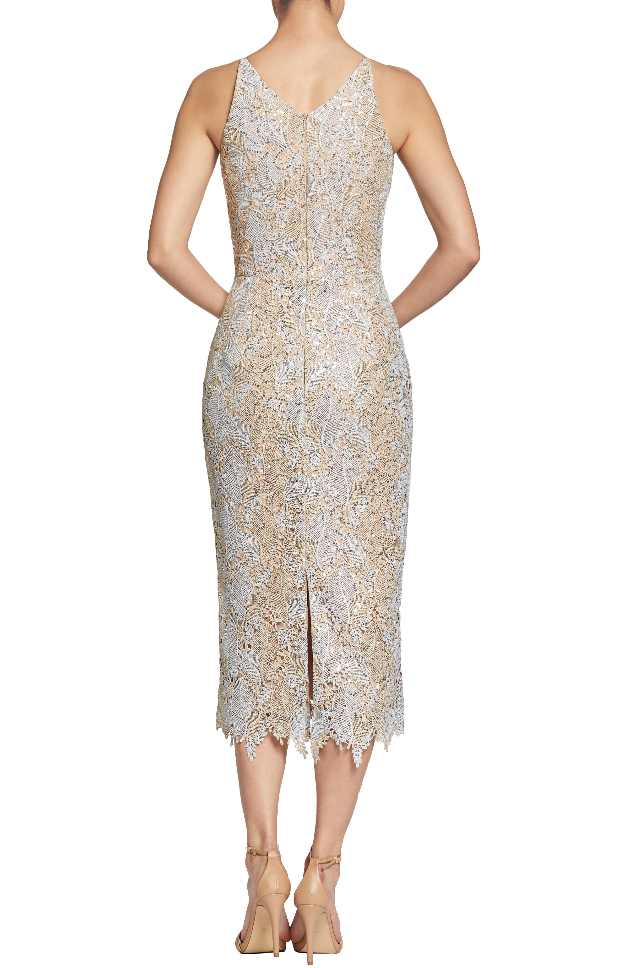 DRESS THE POPULATION, Aurora Lace Sheath Dress, Alternate thumbnail 2, color, PLATINUM/ GOLD