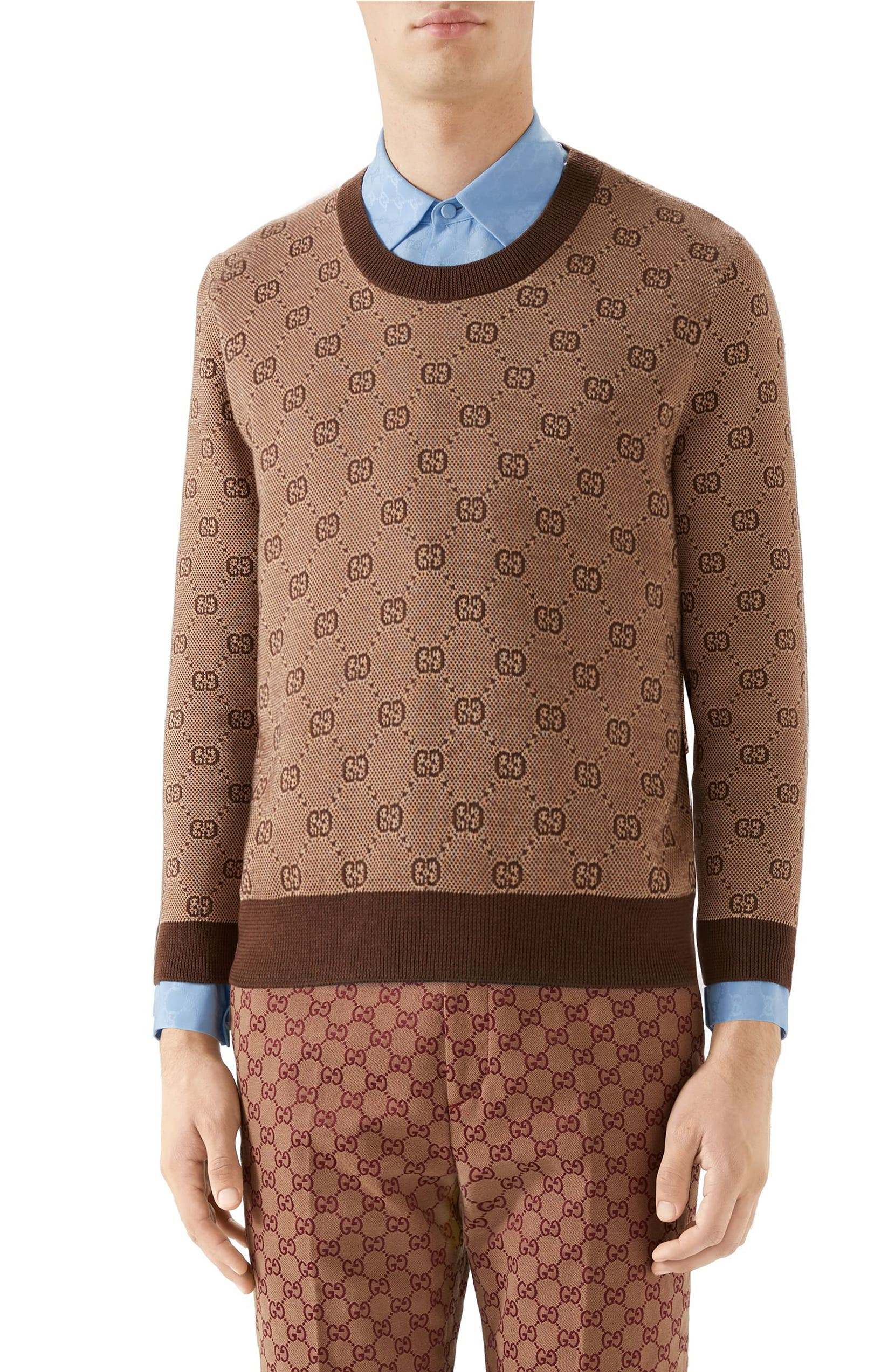 d25d1b82286 Gucci GG Jacquard Wool   Cotton Sweater