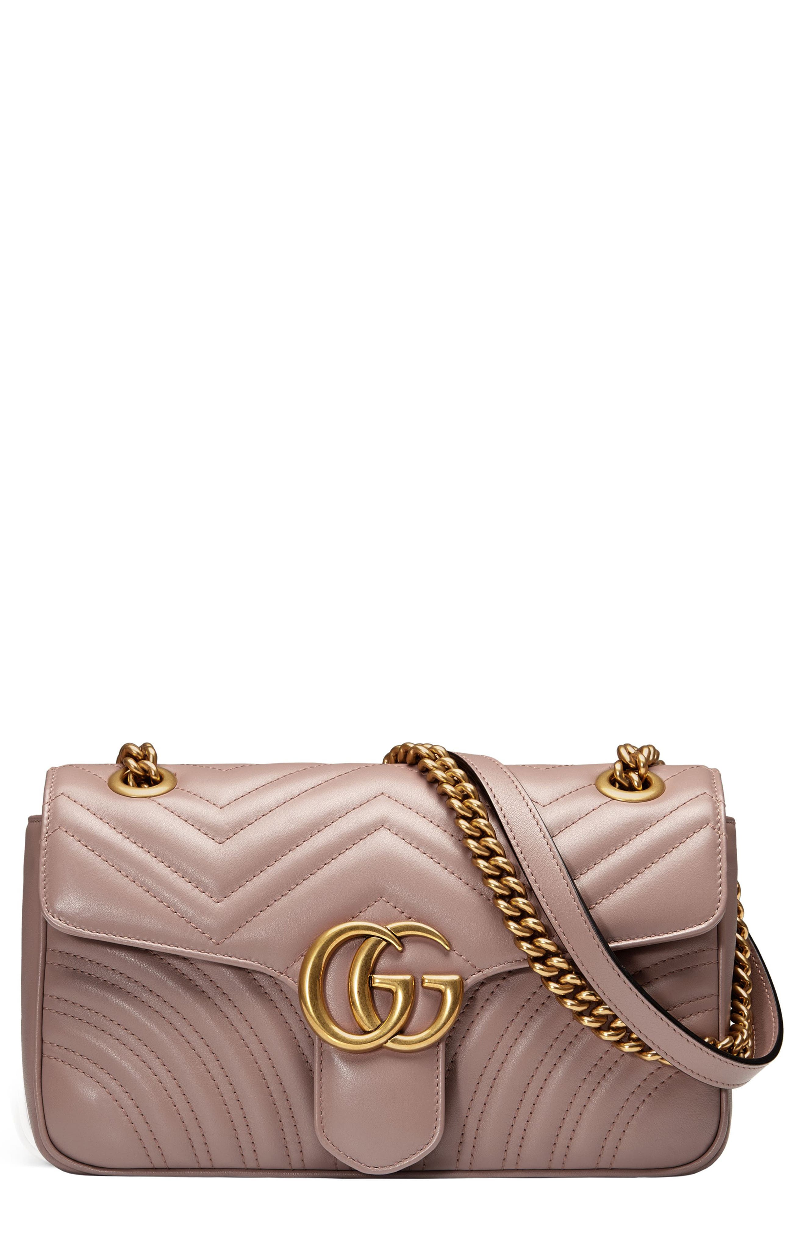 GUCCI, Small GG Marmont 2.0 Matelassé Leather Shoulder Bag, Main thumbnail 1, color, PORCELAIN ROSE/ PORCELAIN ROSE