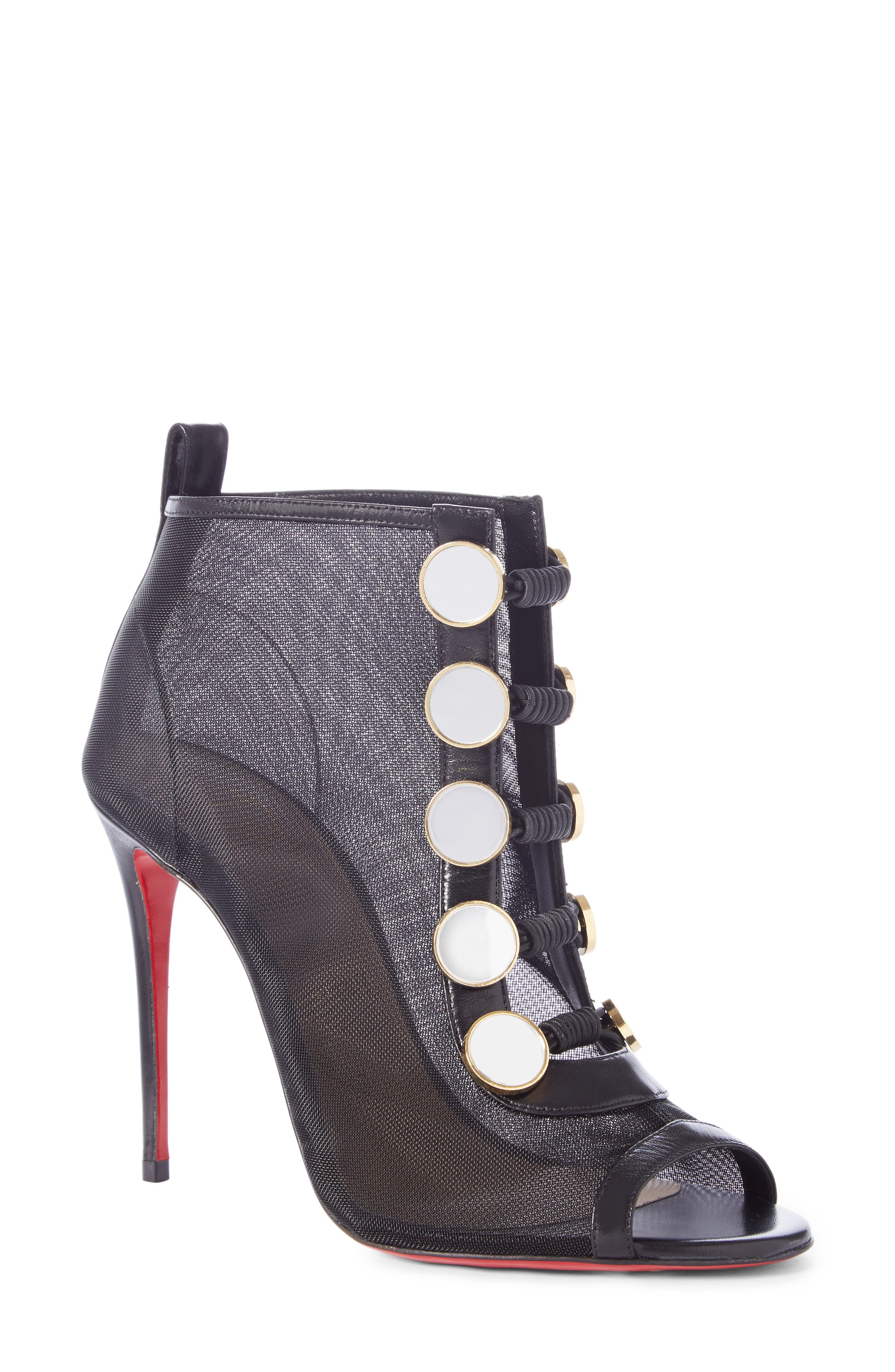 CHRISTIAN LOUBOUTIN Marika Open Toe Bootie, Main, color, BLACK