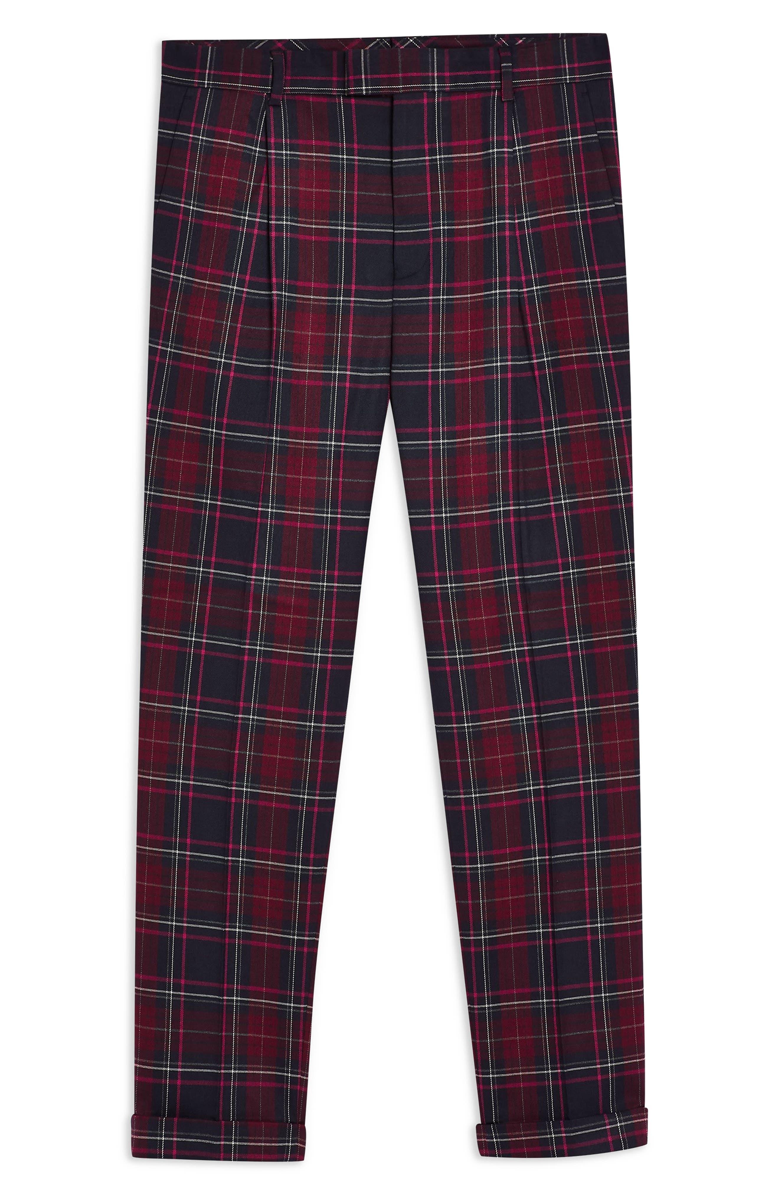 TOPMAN, Skinny Fit Check Trousers, Alternate thumbnail 3, color, BURGUNDY MULTI