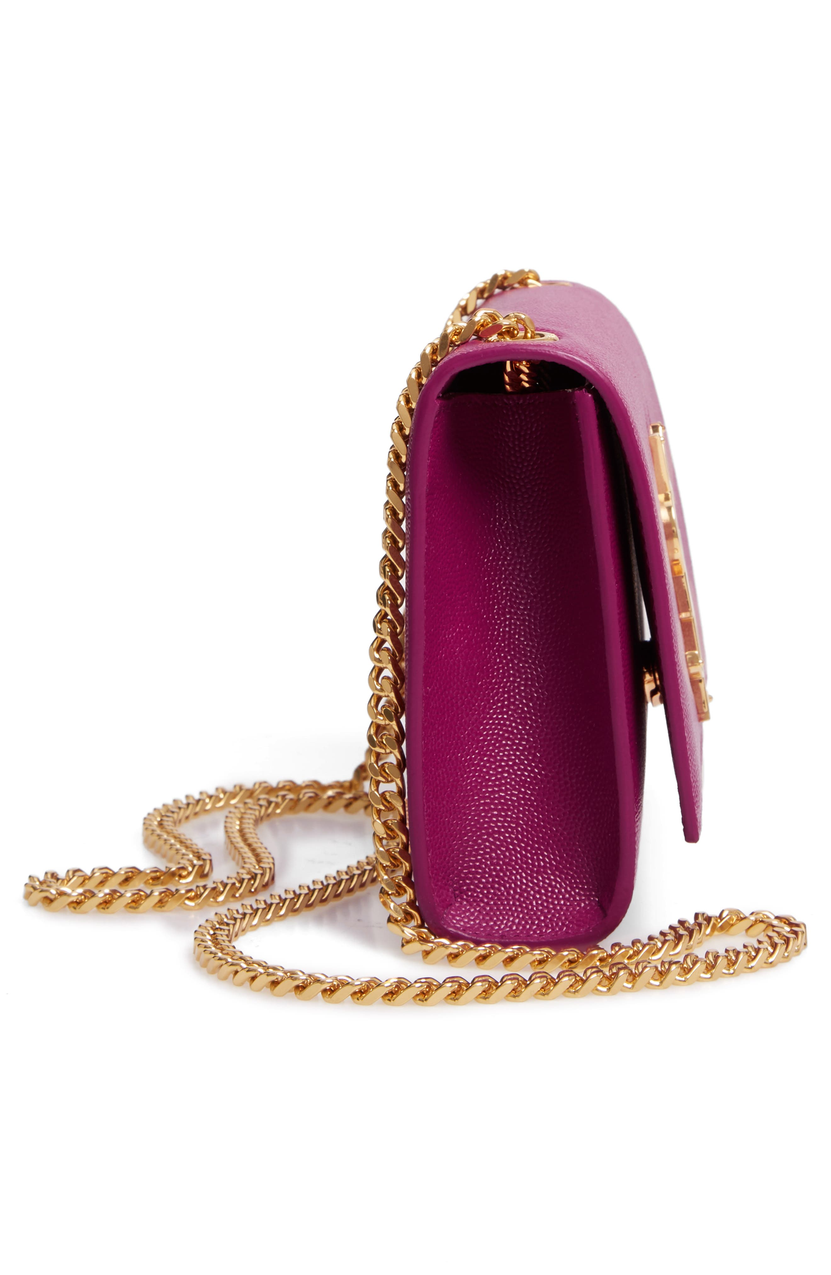 SAINT LAURENT, Small Kate Chain Crossbody Bag, Alternate thumbnail 5, color, LIGHT GRAPE