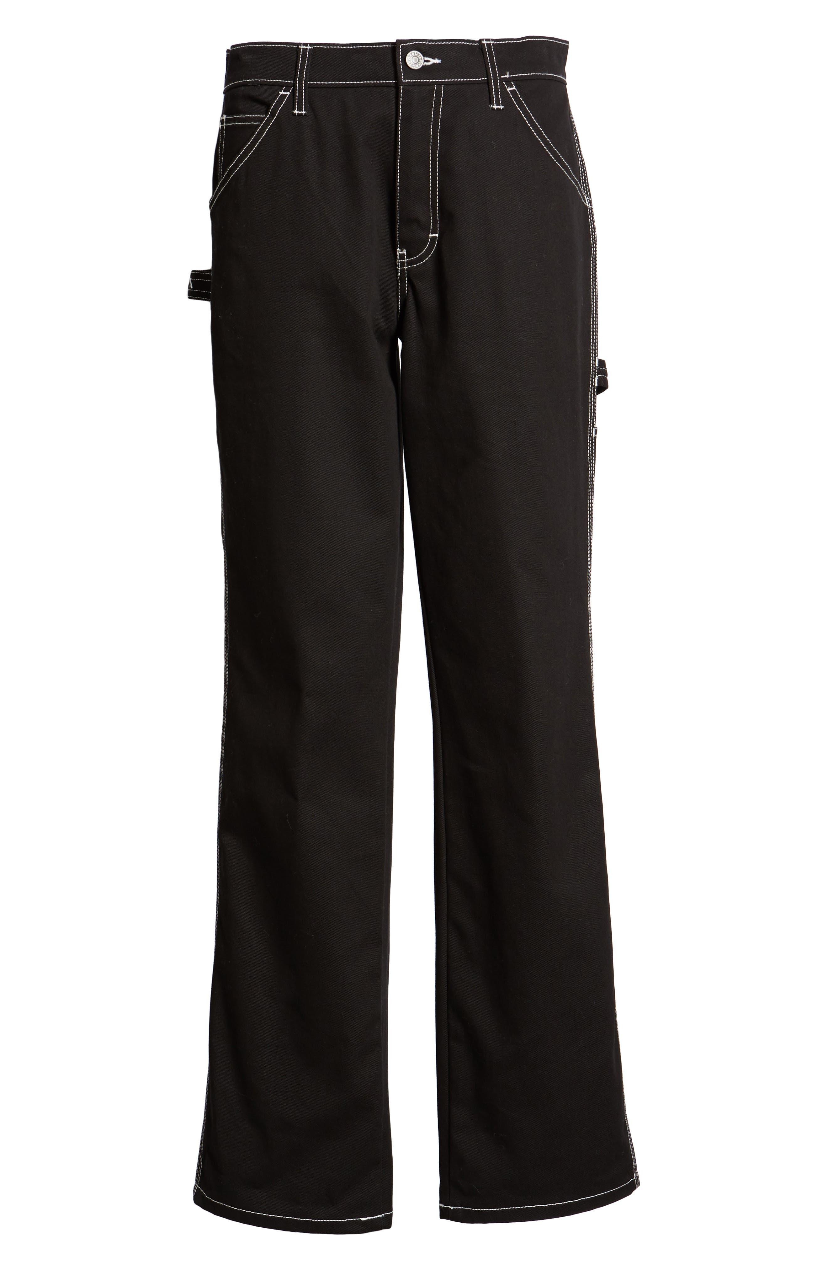 DICKIES, Relaxed Fit Carpenter Pants, Alternate thumbnail 7, color, BLACK