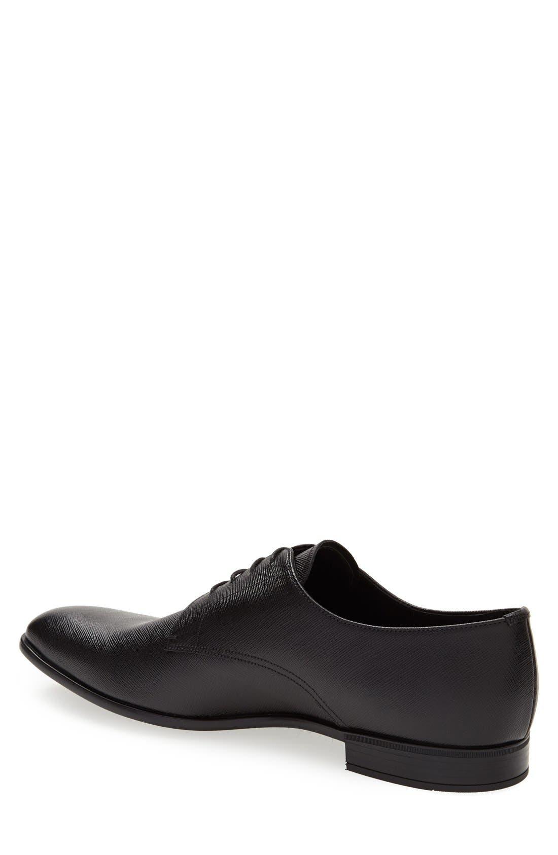 PRADA, Plain Toe Derby, Alternate thumbnail 4, color, BLACK