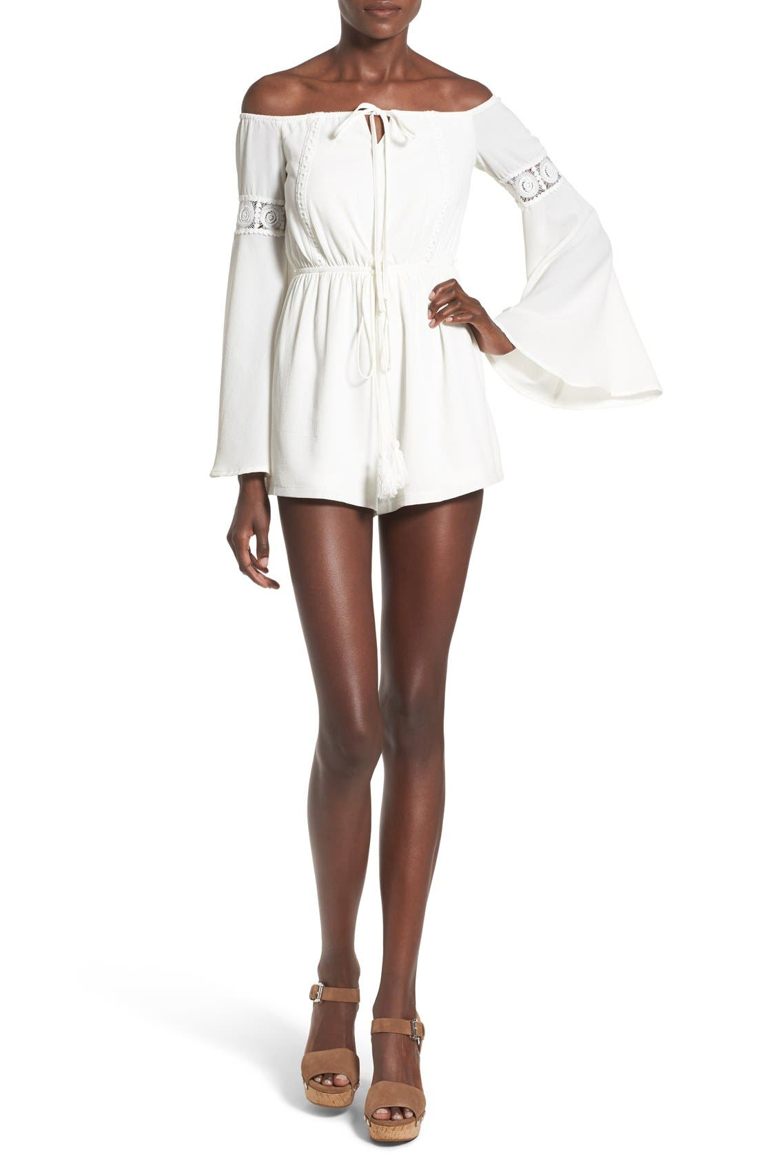MISSGUIDED, Crepe Off the Shoulder Romper, Main thumbnail 1, color, 100