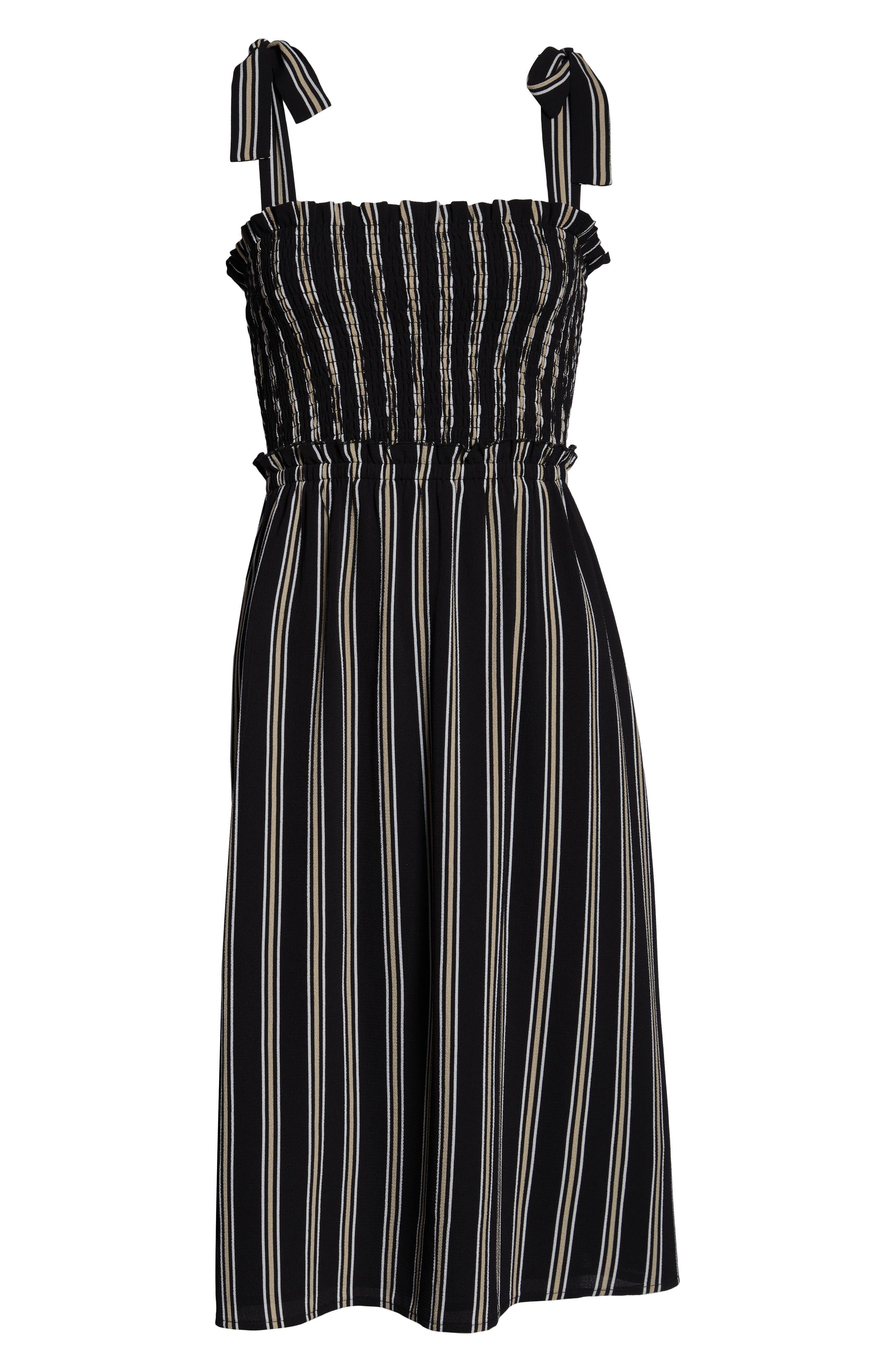ALI & JAY, Tea for Two Crepe Dress, Alternate thumbnail 6, color, BLACK MULTI STRIPE
