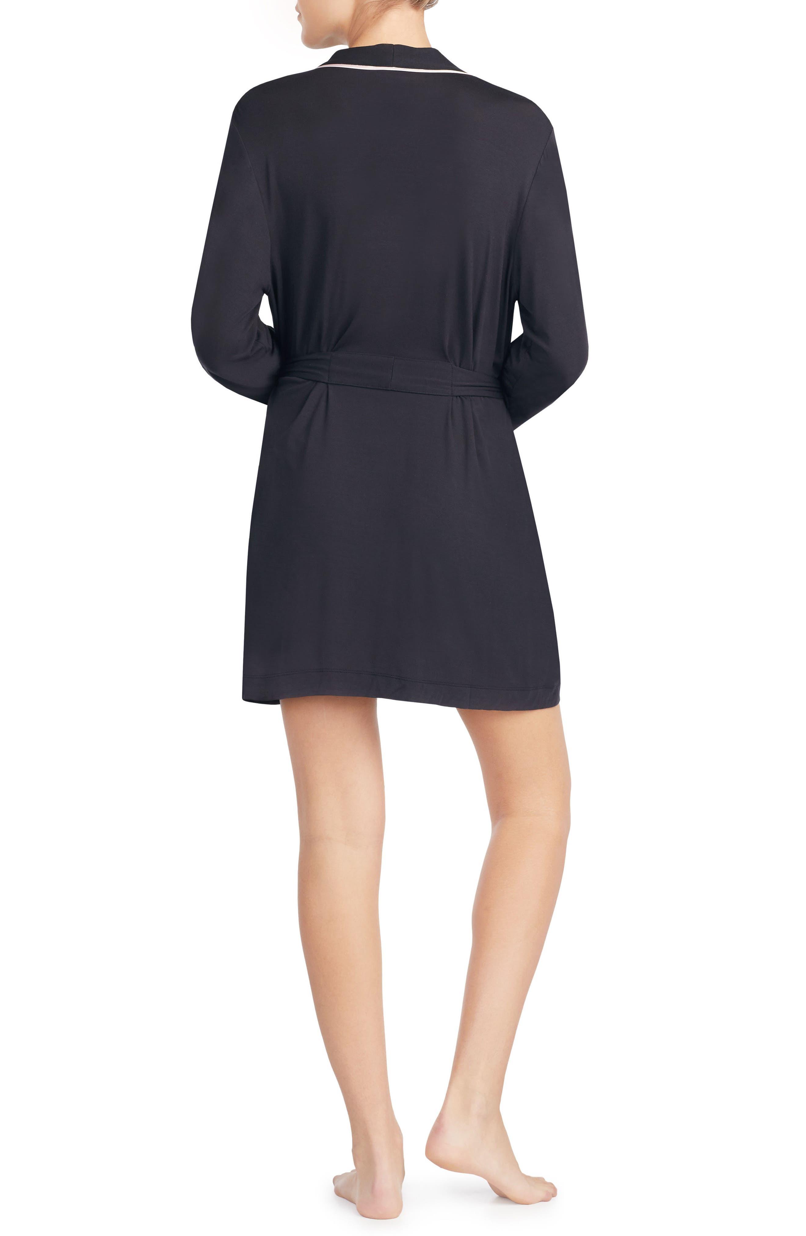 KATE SPADE NEW YORK, jersey short robe, Alternate thumbnail 2, color, BLACK