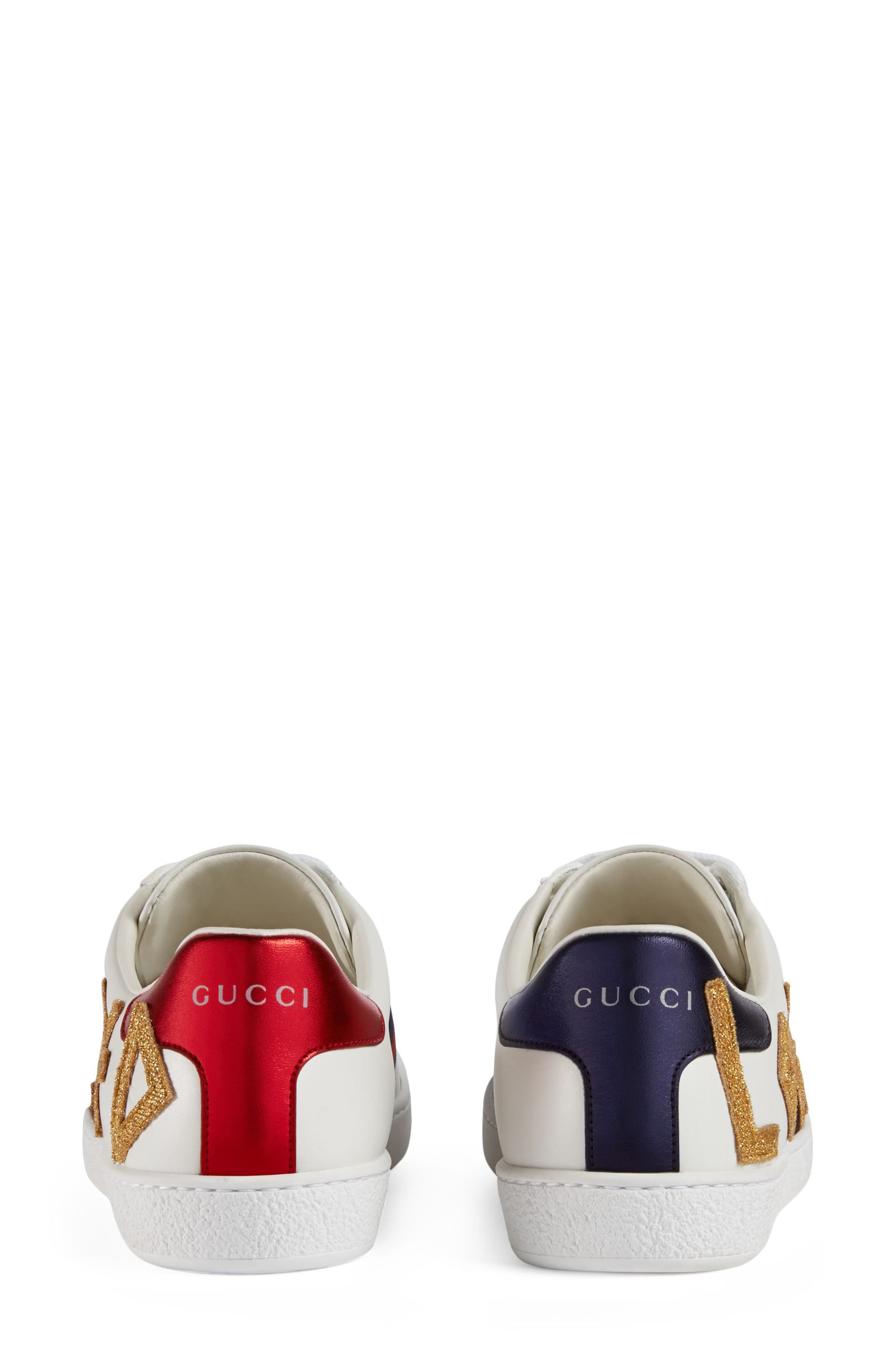 GUCCI, New Ace Loved Sneakers, Alternate thumbnail 2, color, WHITE