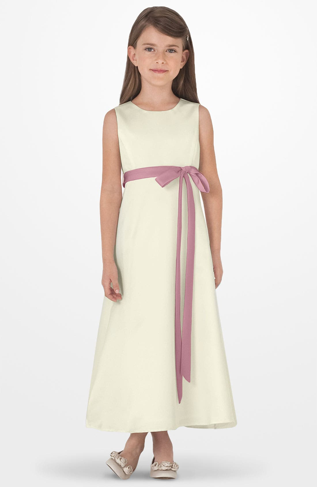 US ANGELS Sleeveless Satin Dress, Main, color, Ivory/ rose petal