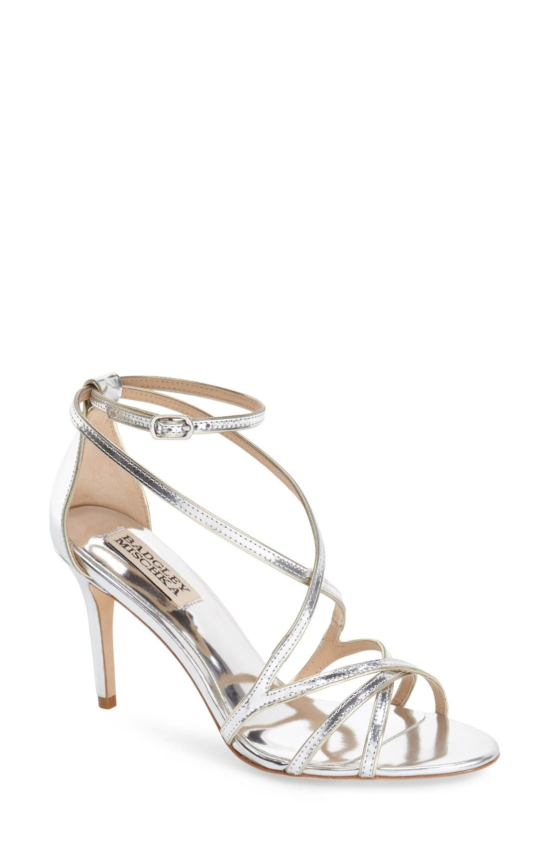 BADGLEY MISCHKA COLLECTION, Badgley Mischka 'Lillian' Metallic Evening Sandal, Main thumbnail 1, color, 046
