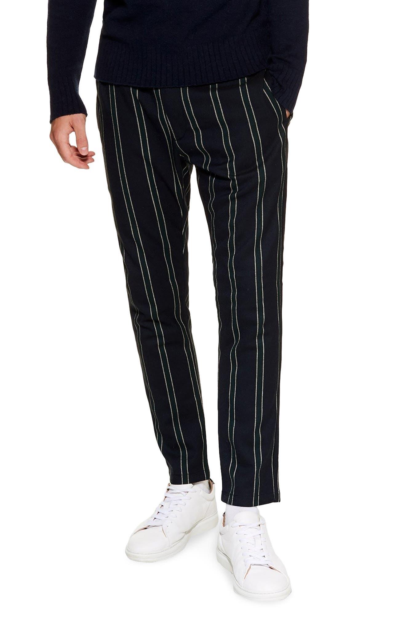 TOPMAN, Stripe Jogger Pants, Main thumbnail 1, color, NAVY MULTI