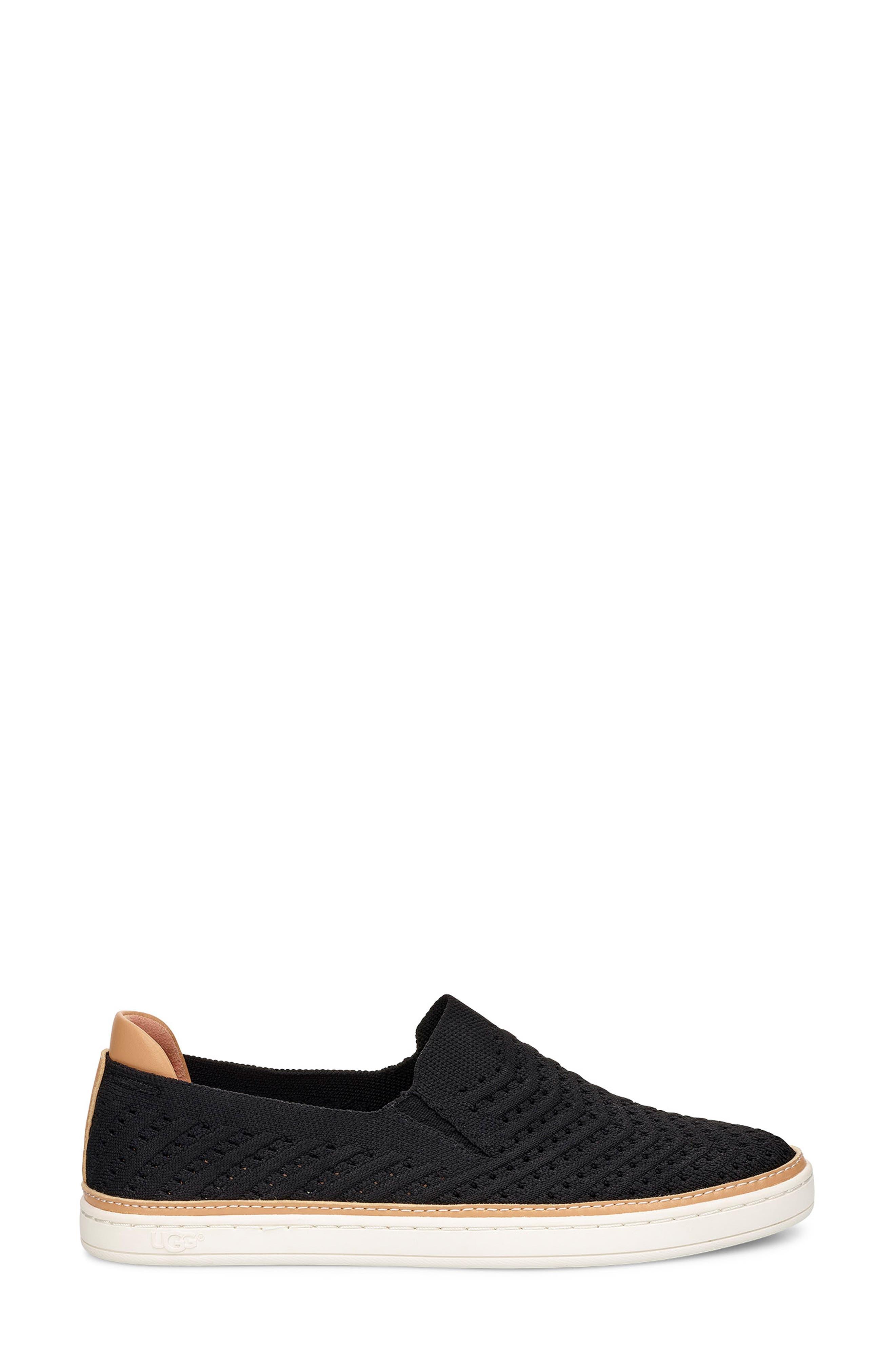 UGG<SUP>®</SUP>, Sammy Slip-On Sneaker, Alternate thumbnail 3, color, BLACK FABRIC