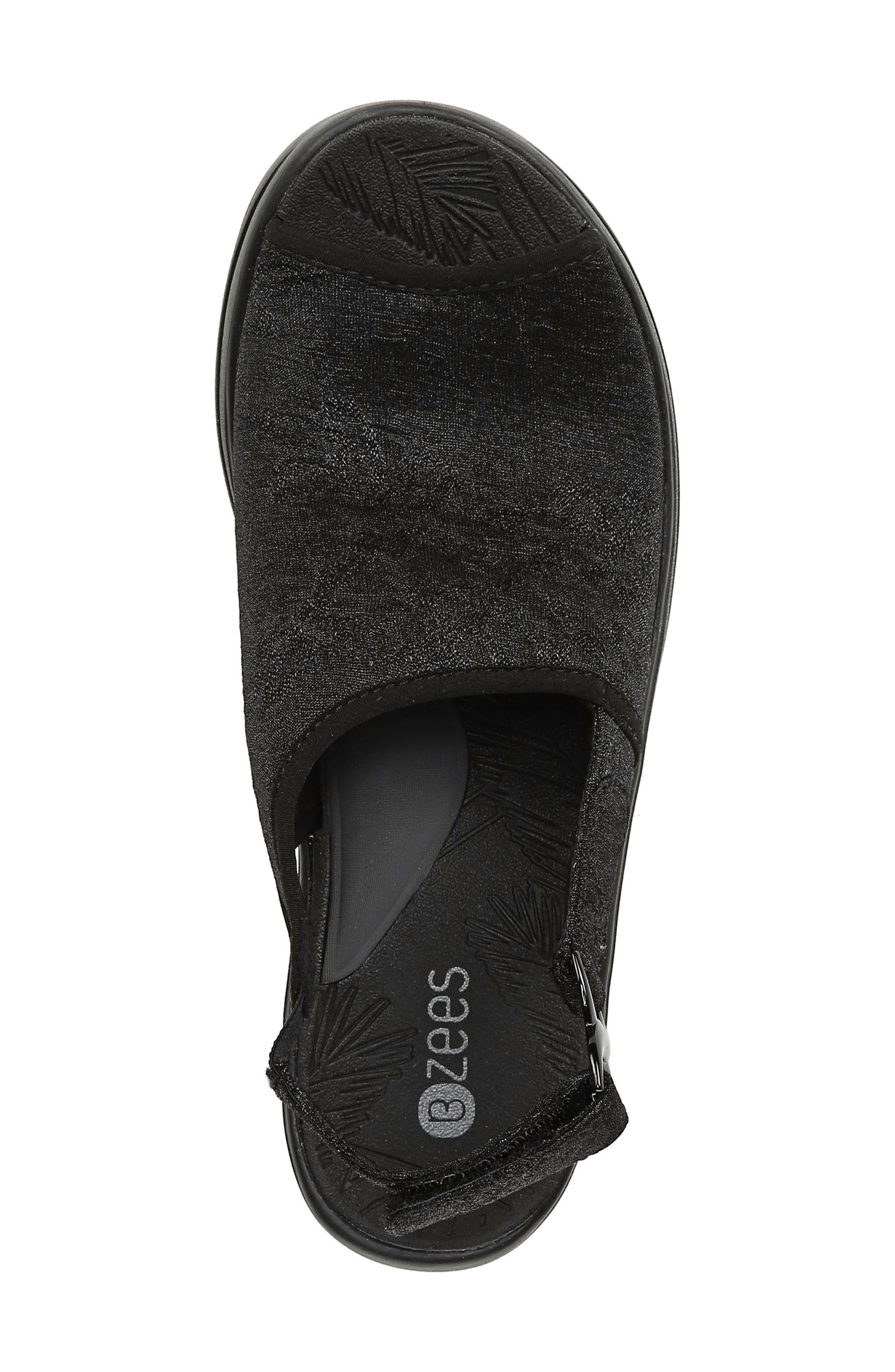 BZEES, Vivia Slingback Wedge Sandal, Alternate thumbnail 5, color, BLACK FABRIC
