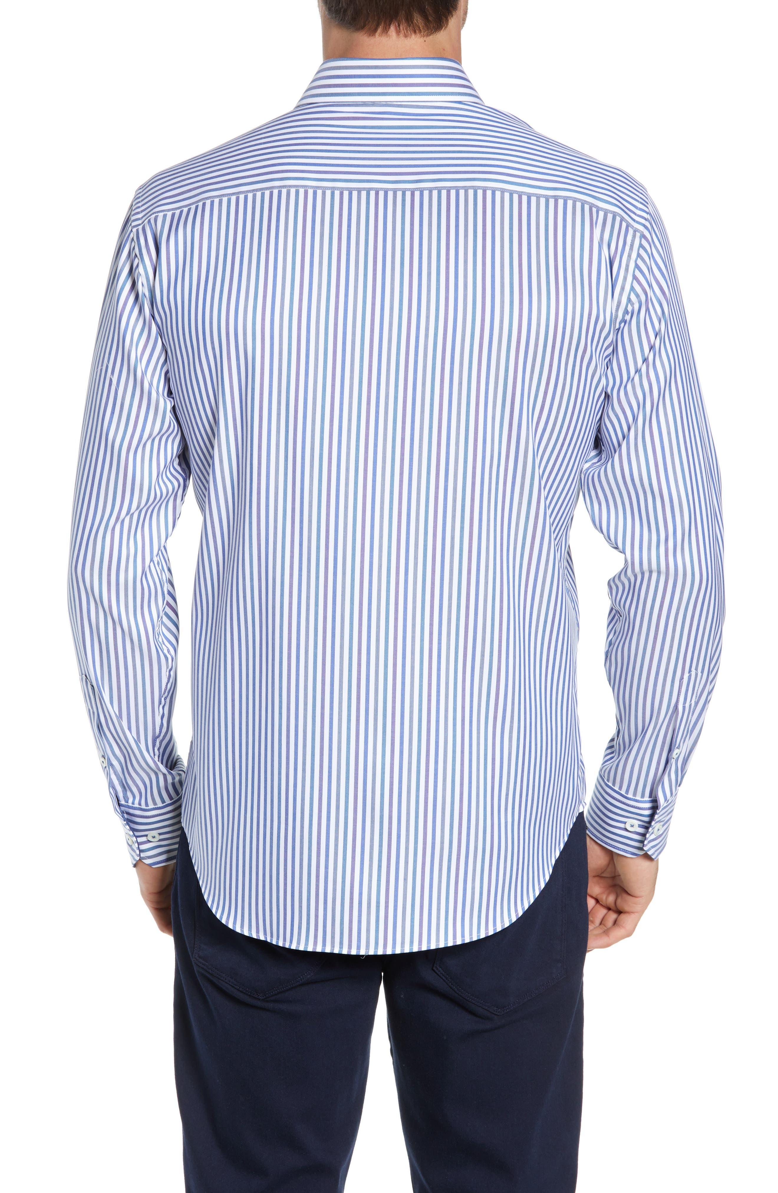 BUGATCHI, Classic Fit Stripe Sport Shirt, Alternate thumbnail 3, color, CHALK
