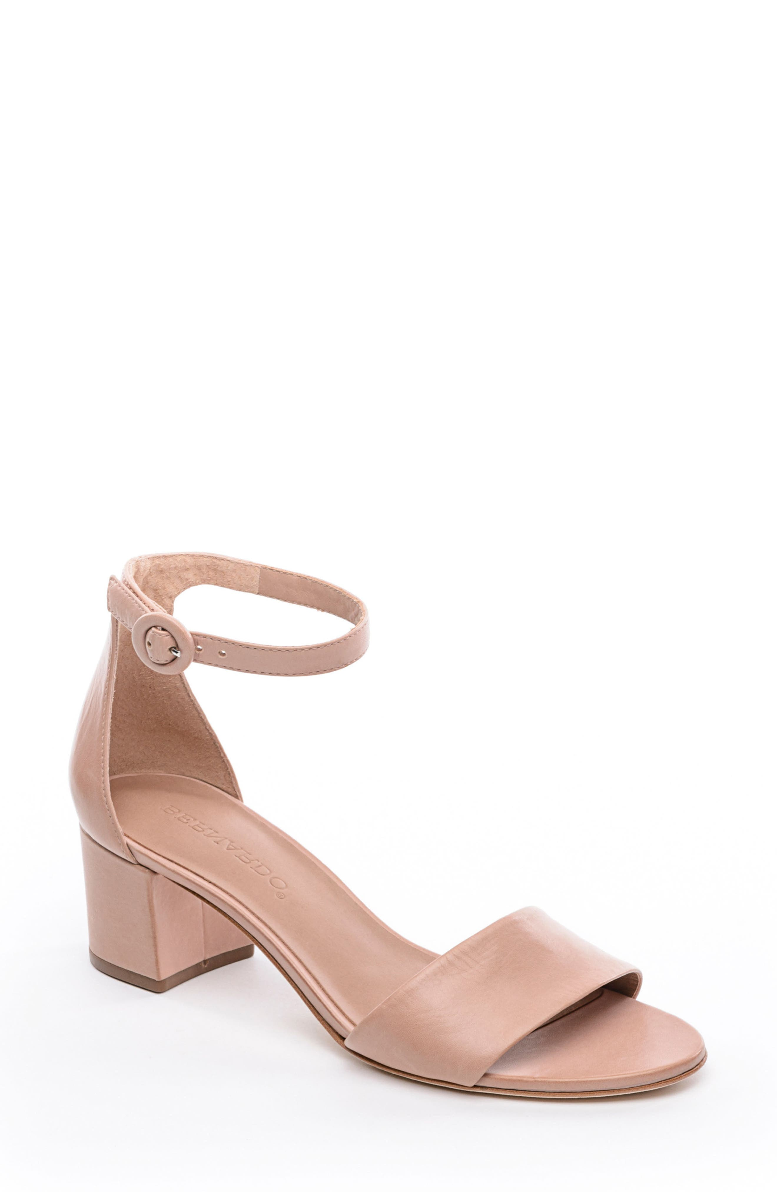 BERNARDO, Belinda Ankle Strap Sandal, Main thumbnail 1, color, BLUSH LEATHER