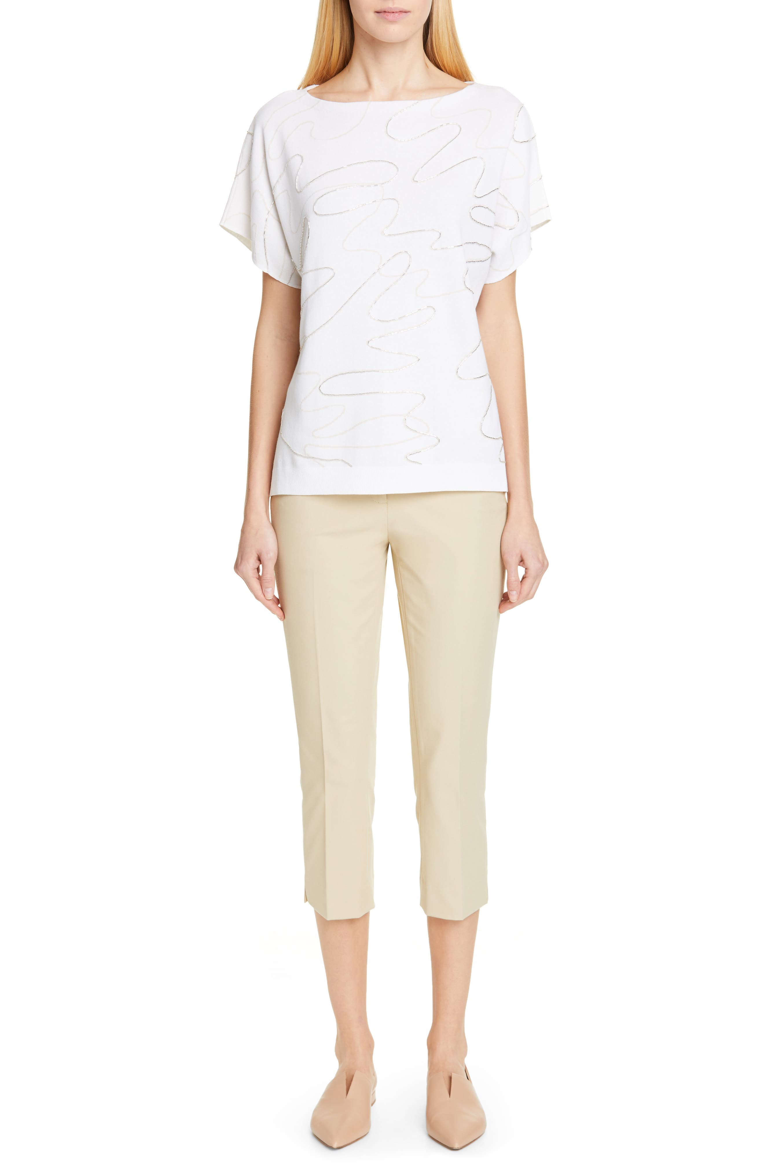 LAFAYETTE 148 NEW YORK, Beaded Double Jacquard Sweater, Alternate thumbnail 7, color, WHITE/ RAFFIA