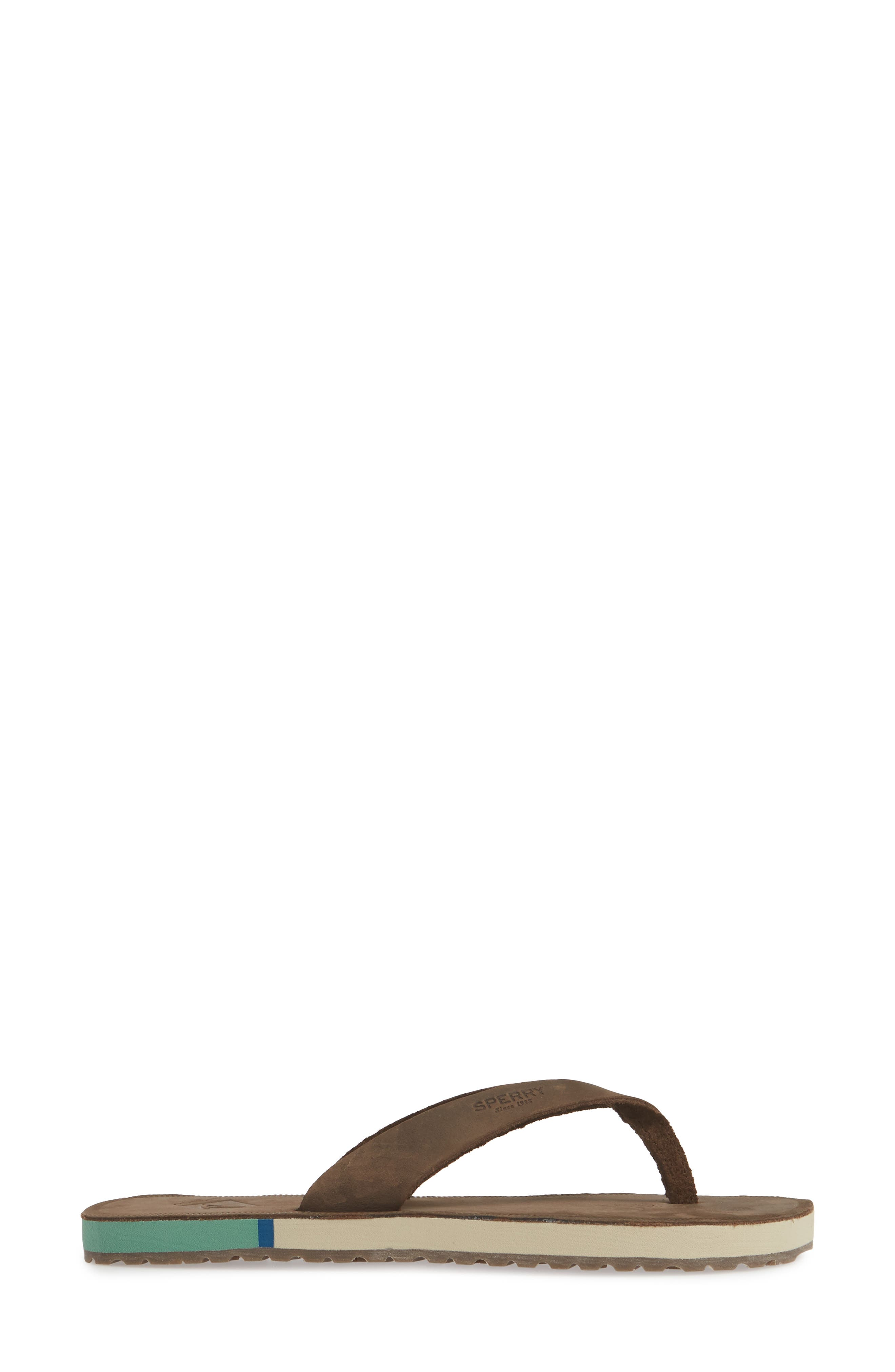 SPERRY, Wharf Flip Flop, Alternate thumbnail 3, color, CHOCOLATE LEATHER