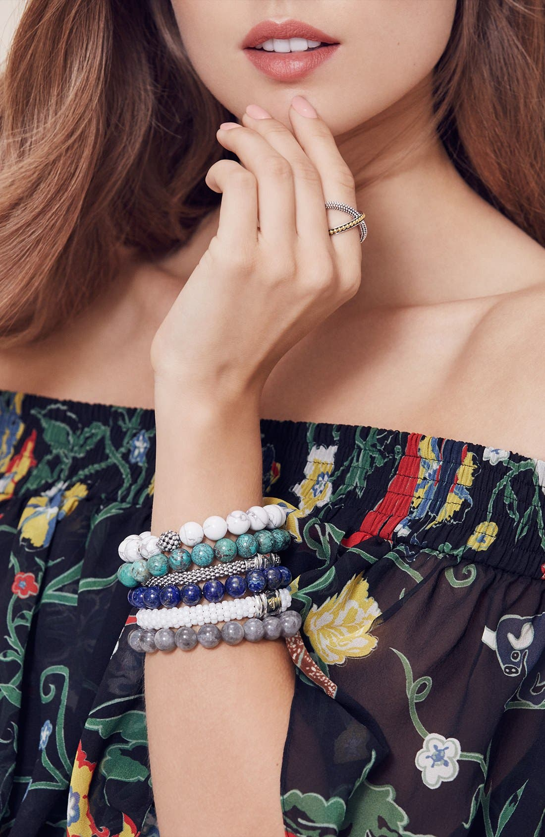 LAGOS, Bead Stretch Bracelet, Alternate thumbnail 4, color, BLUE LACE AGATE