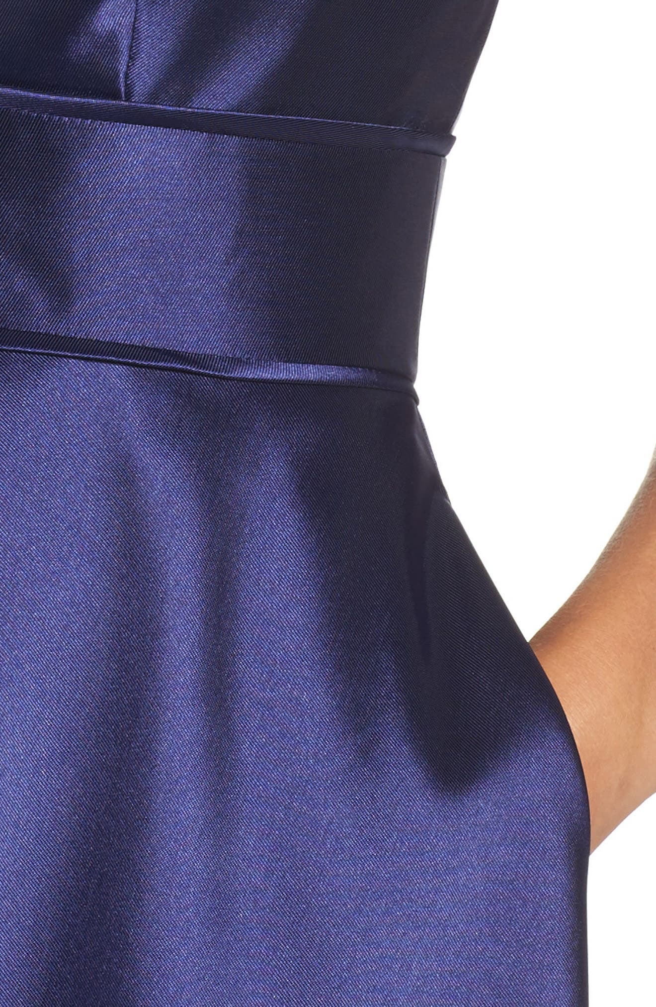 IEENA FOR MAC DUGGAL, Plunging Sweetheart Neck Ballgown, Alternate thumbnail 4, color, NAVY