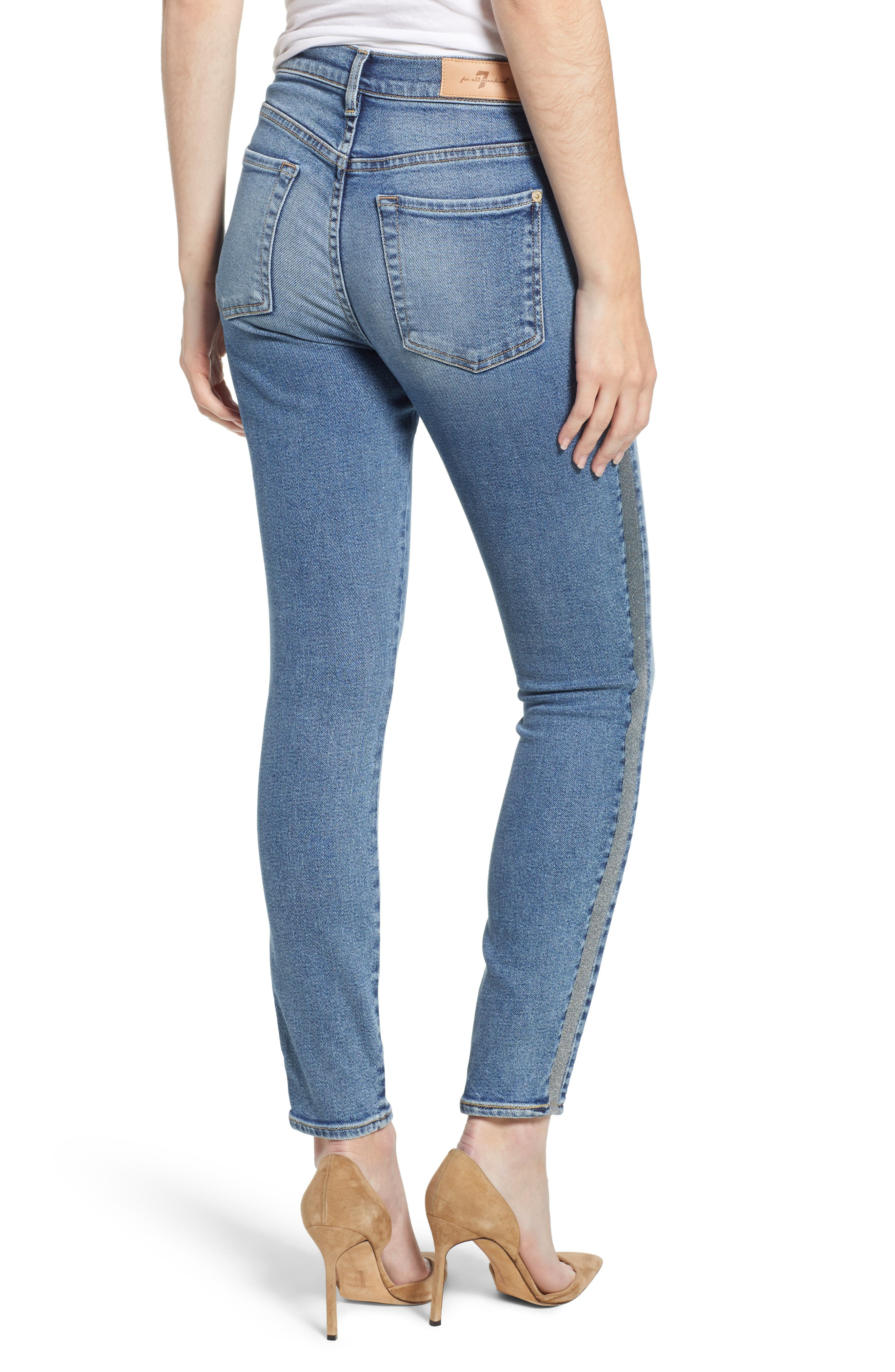 7 FOR ALL MANKIND<SUP>®</SUP>, Luxe Vintage Side Stripe High Waist Ankle Skinny Jeans, Alternate thumbnail 2, color, 401