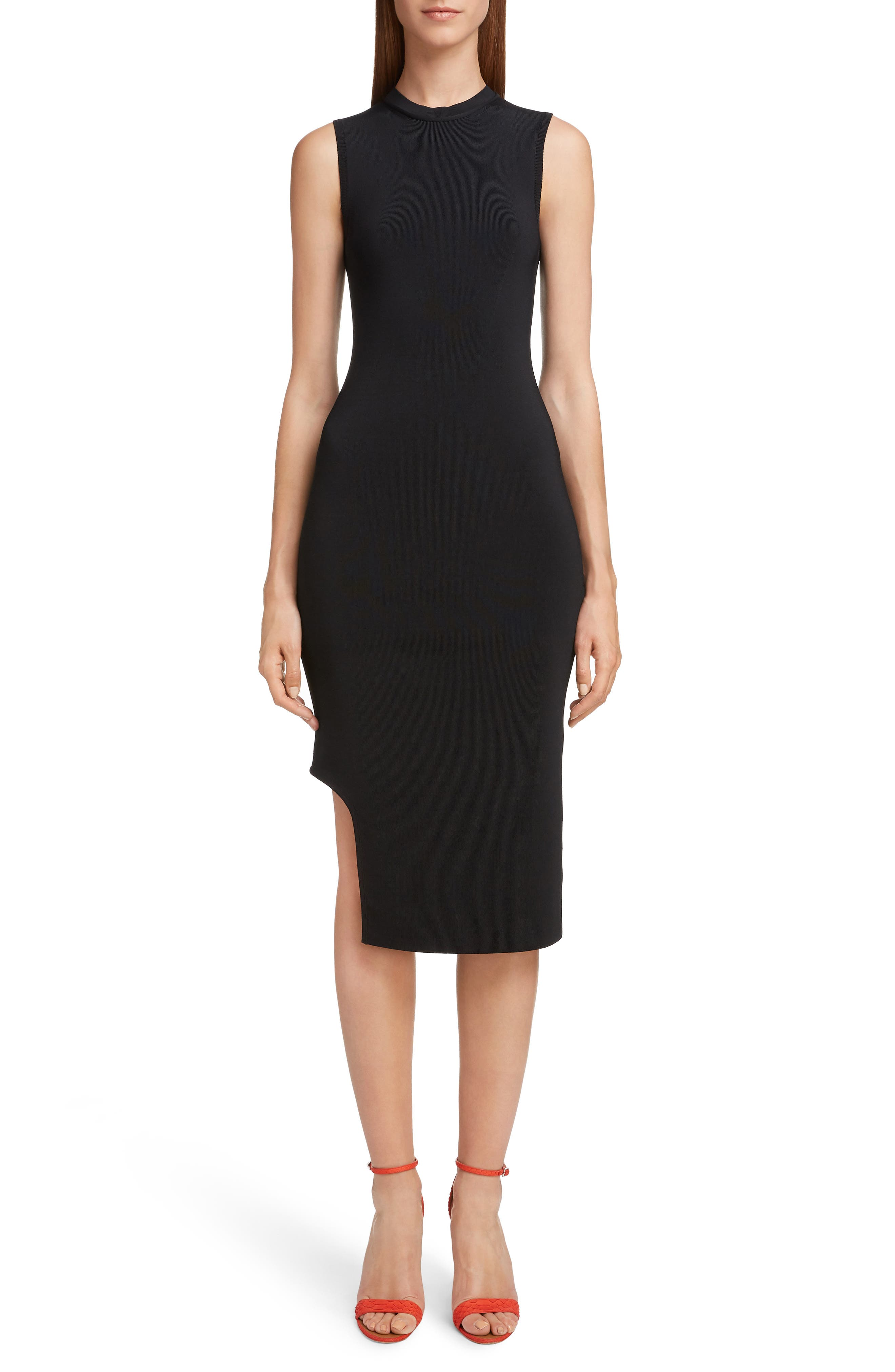 VICTORIA BECKHAM, Cutout Knit Dress, Main thumbnail 1, color, BLACK