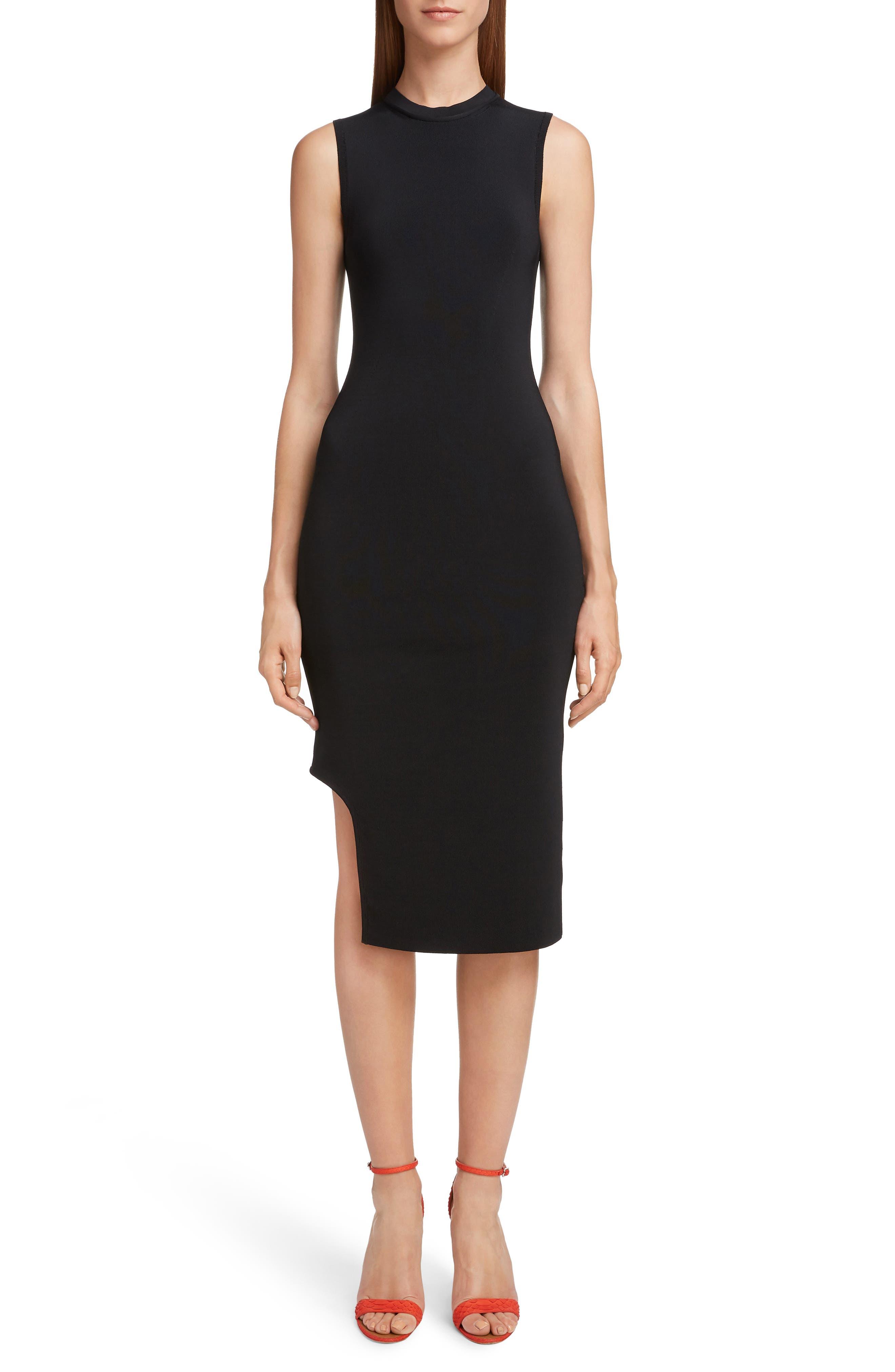 VICTORIA BECKHAM Cutout Knit Dress, Main, color, BLACK