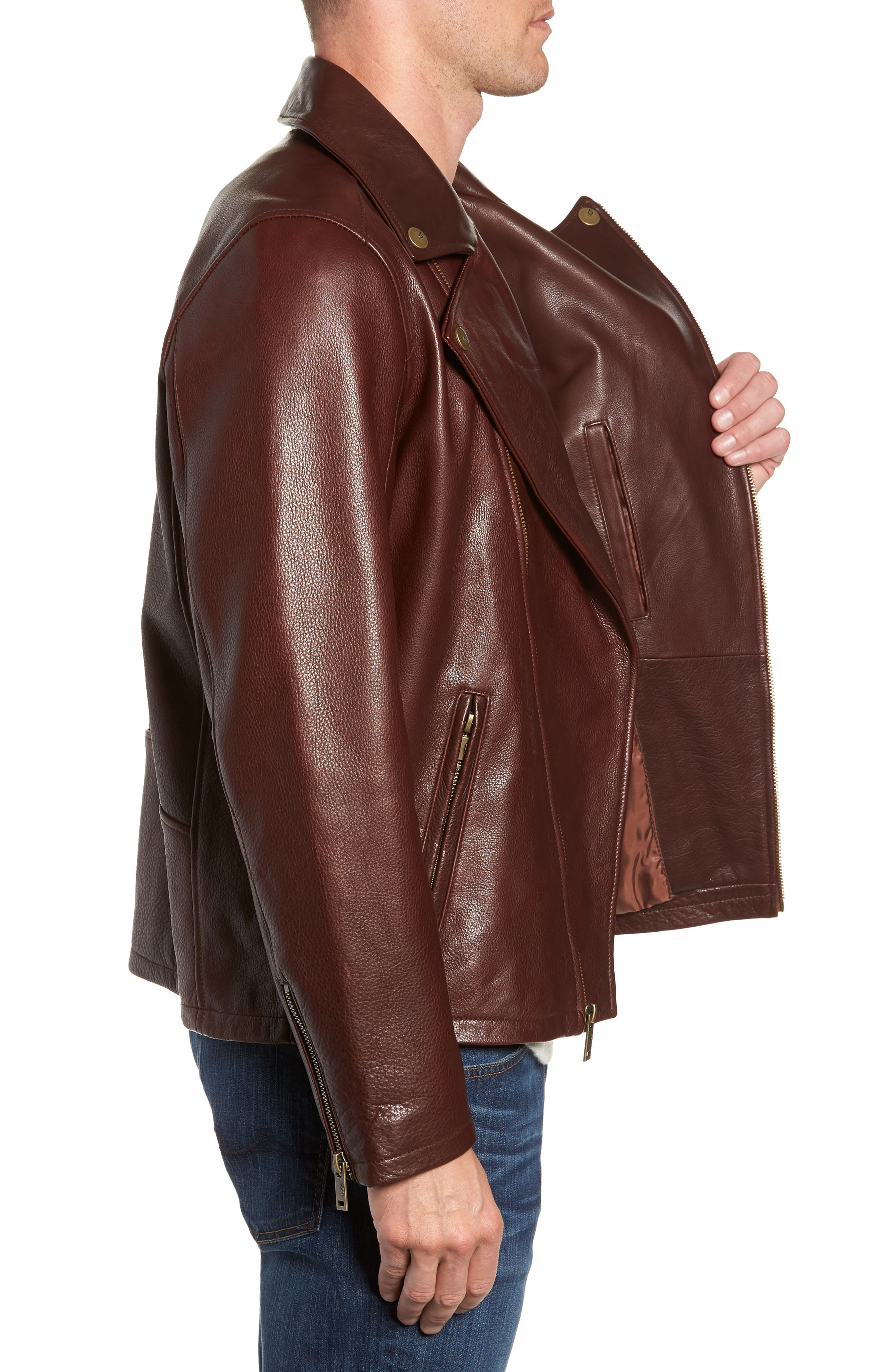 UGG<SUP>®</SUP>, Leather Moto Jacket, Alternate thumbnail 3, color, DARK CHESTNUT