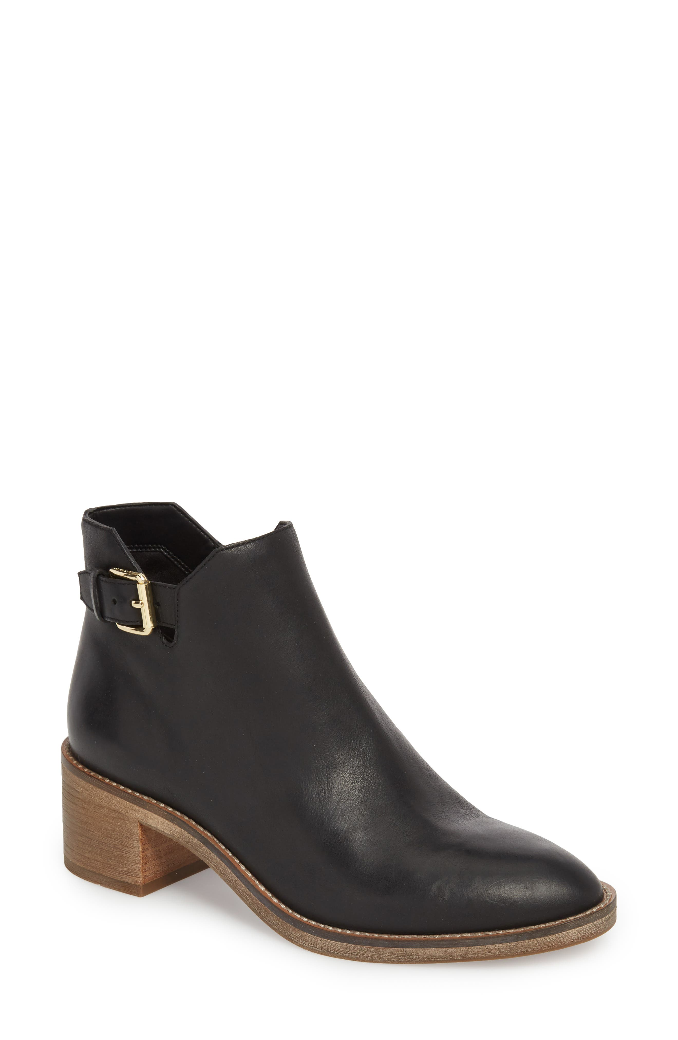 COLE HAAN, Harrington Grand Buckle Bootie, Main thumbnail 1, color, BLACK LEATHER