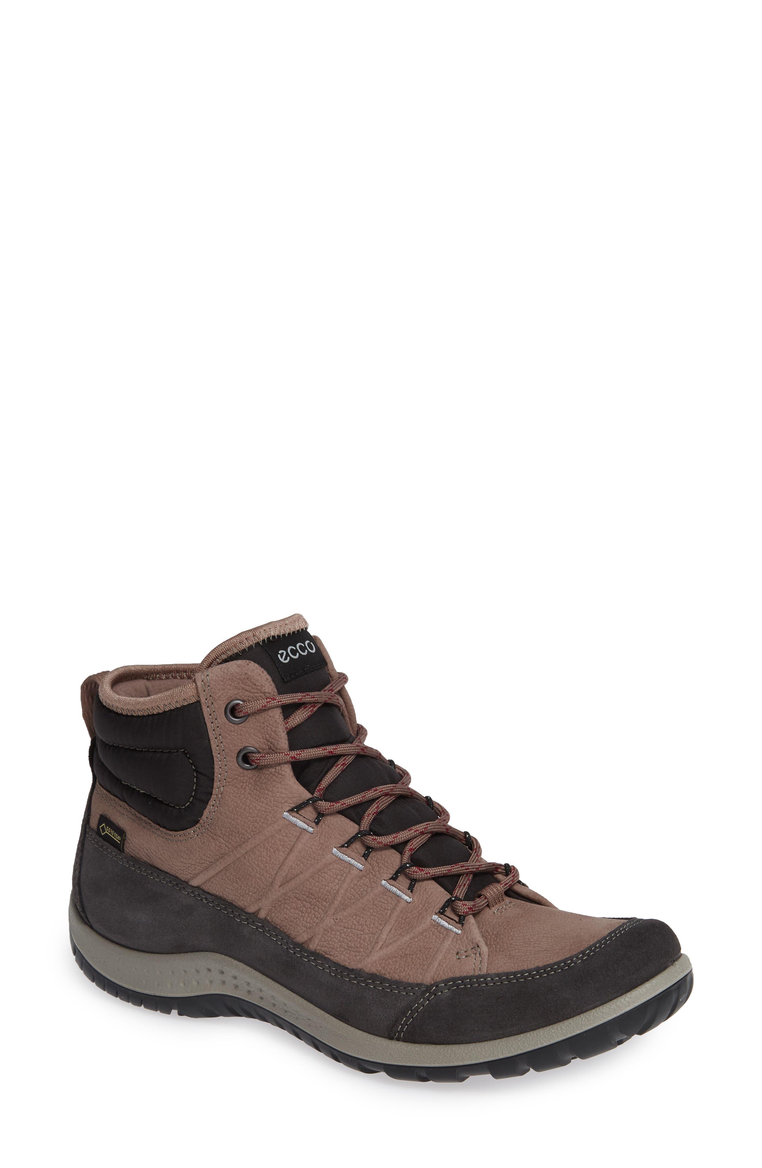 ECCO, 'Aspina GTX' Waterproof High Top Shoe, Main thumbnail 1, color, DEEP TAUPE NUBUCK LEATHER