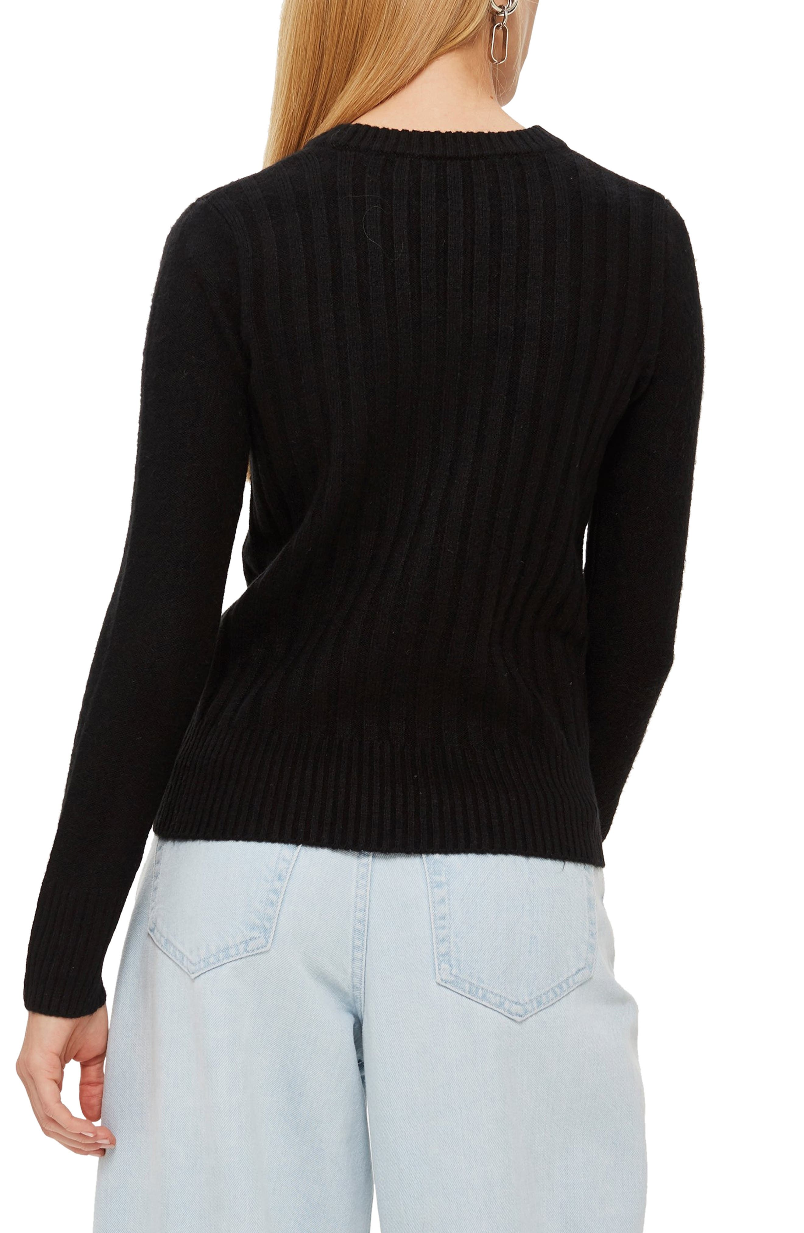 TOPSHOP, Rib Sweater, Alternate thumbnail 2, color, BLACK