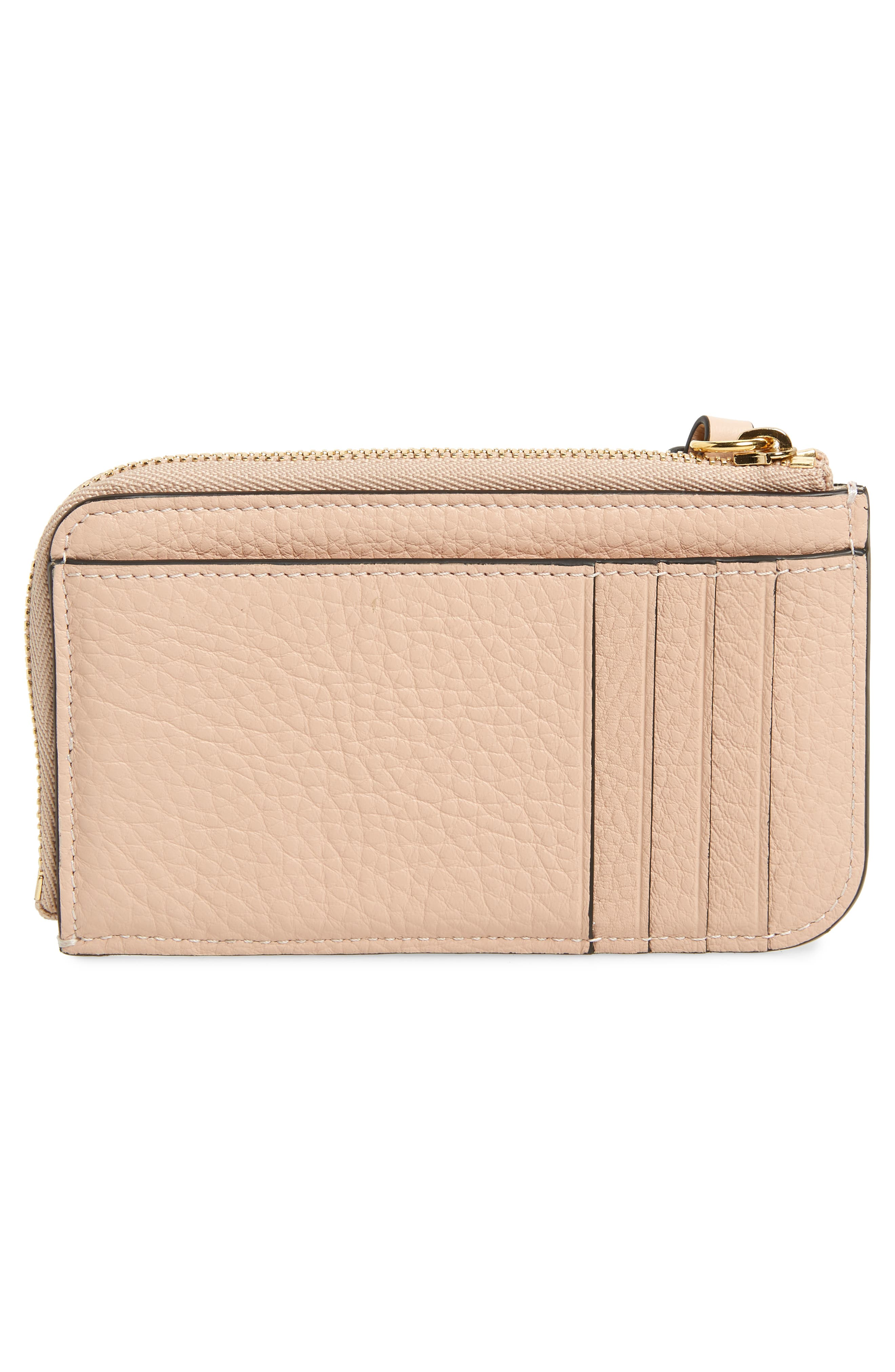 CHLOÉ, Alphabet Leather Card Holder, Alternate thumbnail 4, color, BLUSH NUDE