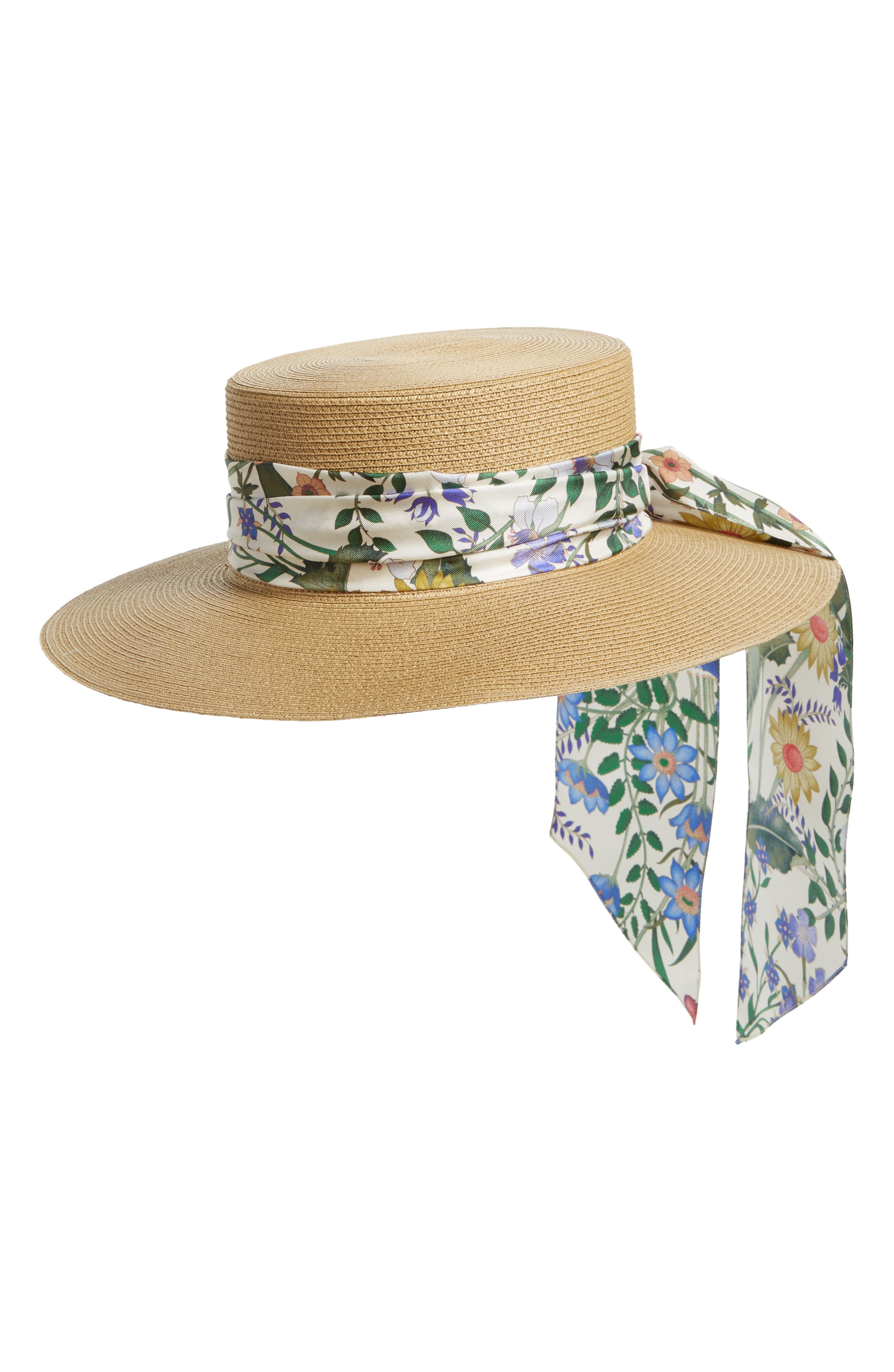 GUCCI, Alba Straw Hat, Main thumbnail 1, color, ROPE/ WHITE