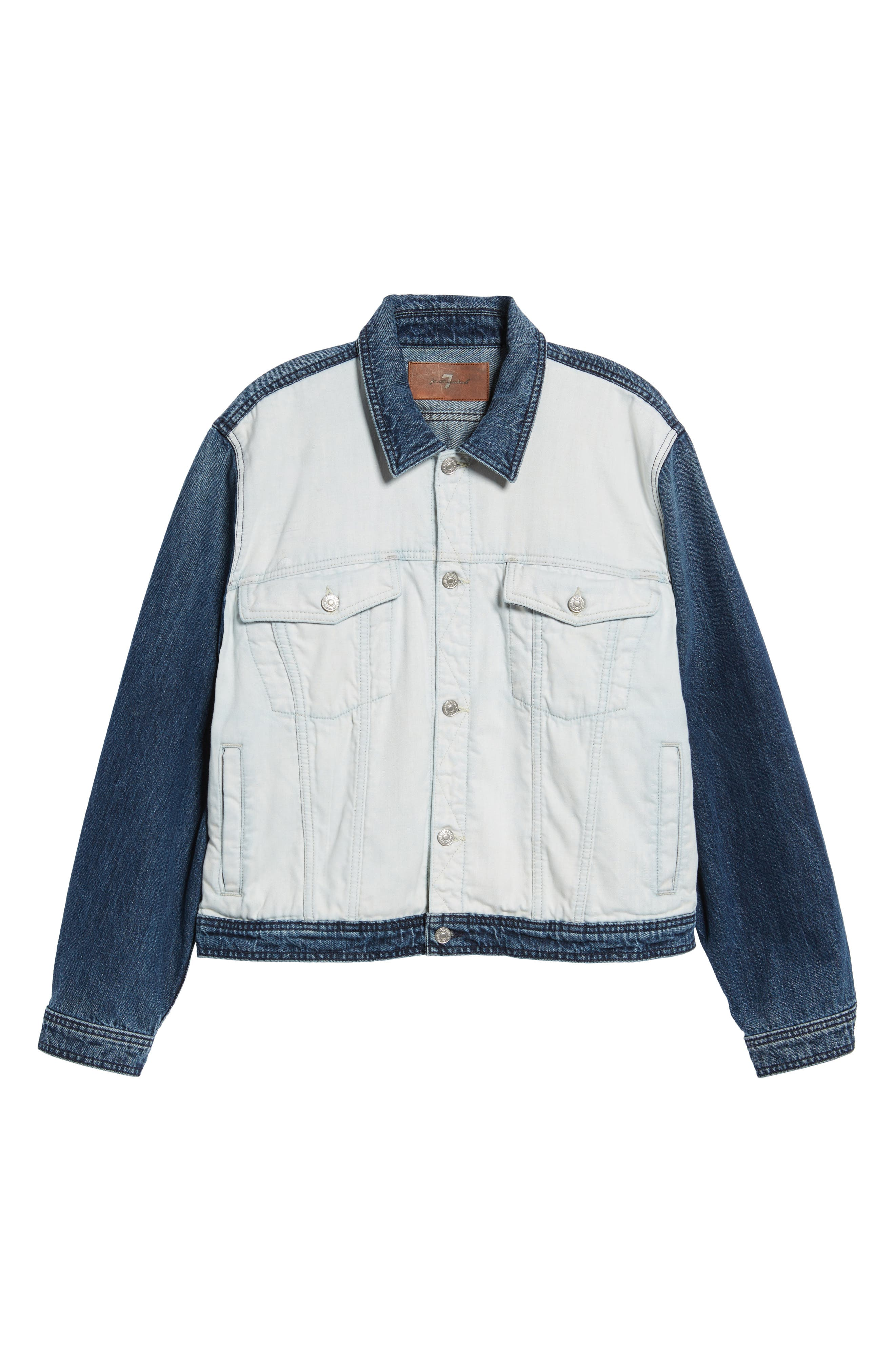 7 FOR ALL MANKIND<SUP>®</SUP>, Inside Out Trucker Jacket, Alternate thumbnail 5, color, VINTAGE BLUE