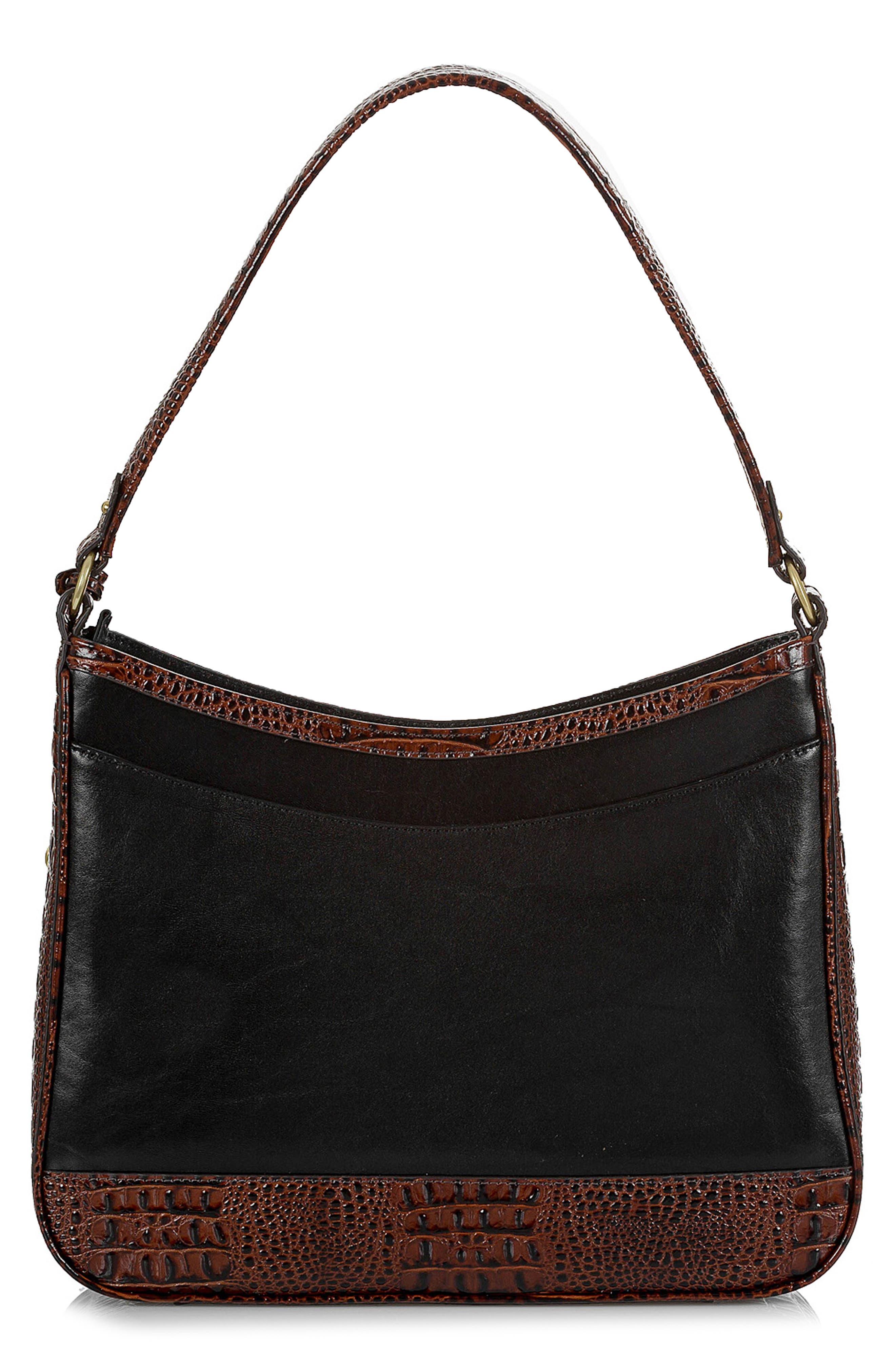 BRAHMIN, Noelle Leather Hobo Bag, Alternate thumbnail 3, color, 001