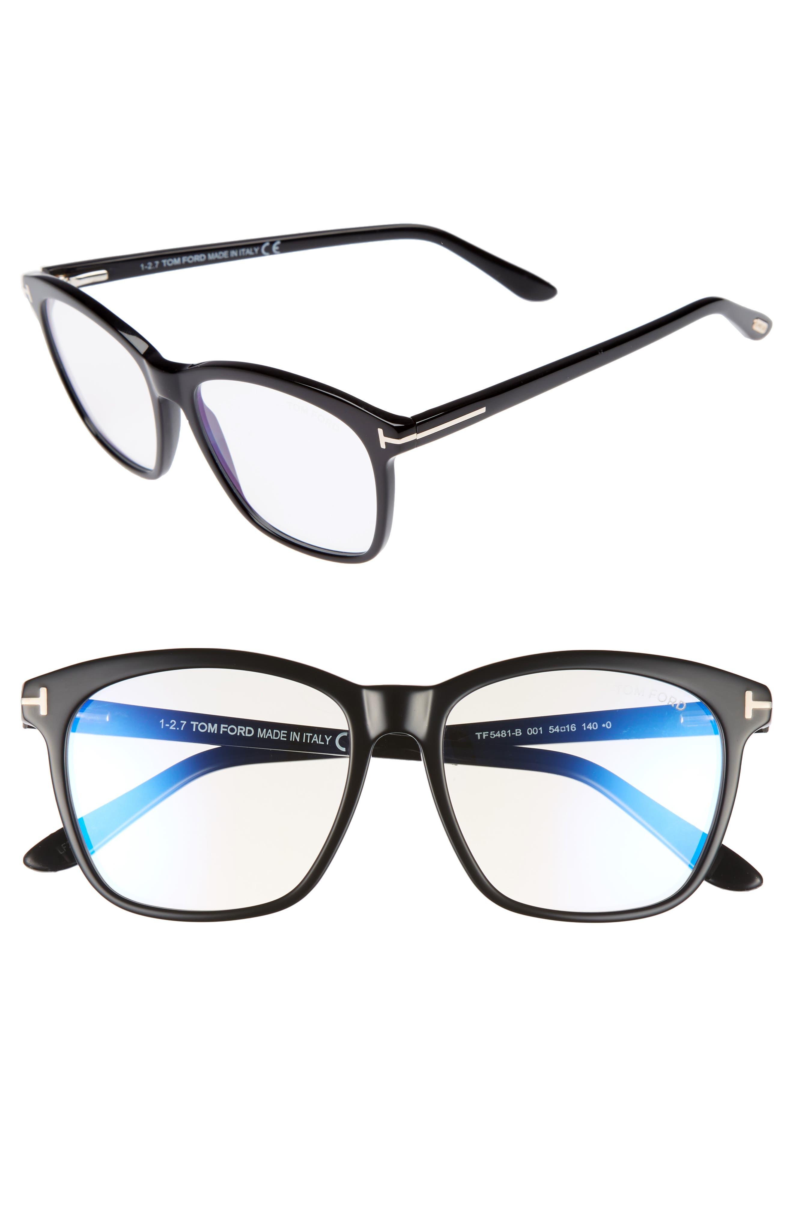 TOM FORD, 54mm Blue Block Optical Glasses, Main thumbnail 1, color, BLACK/ BLUE