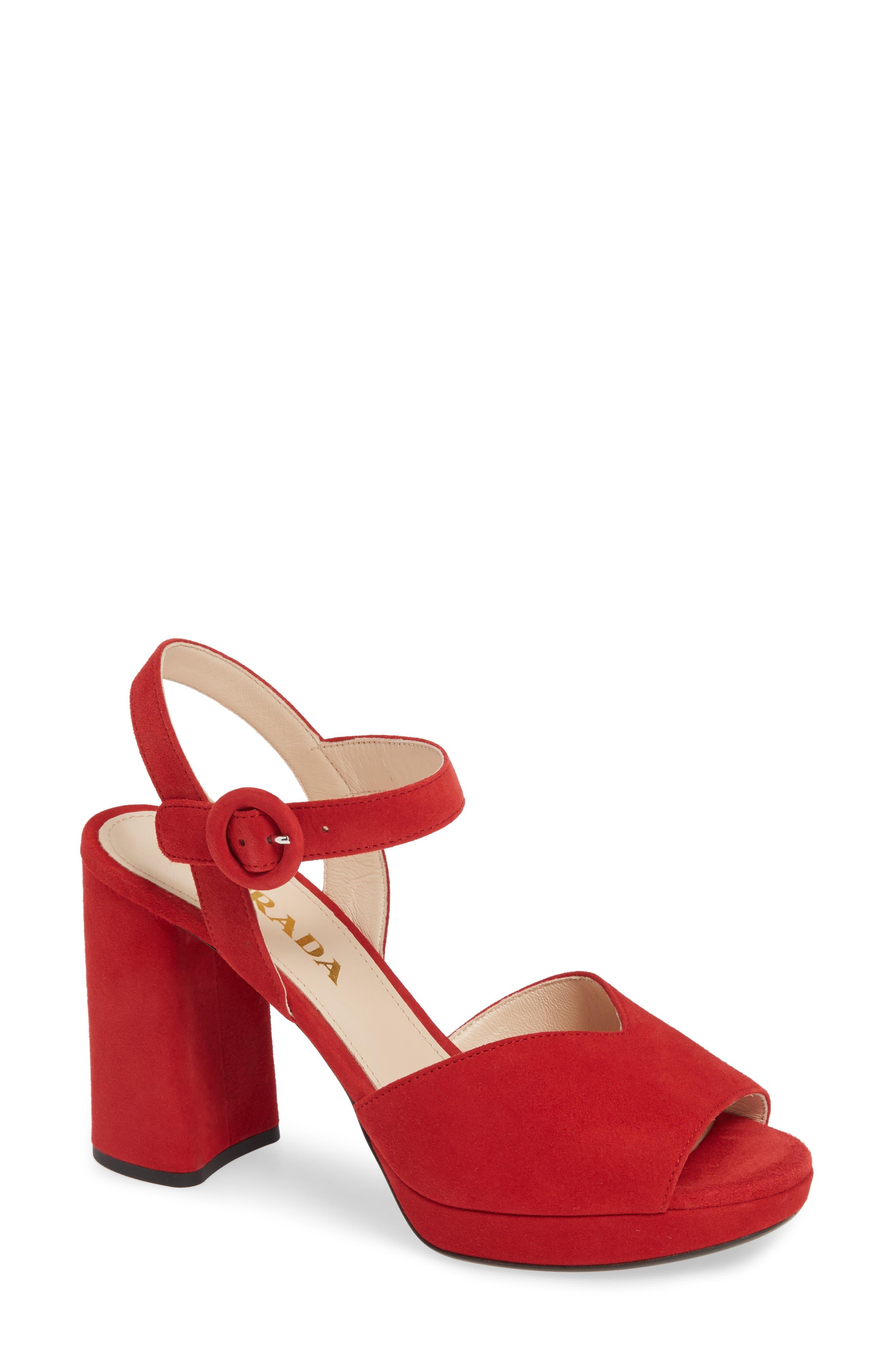 PRADA, Platform Sandal, Main thumbnail 1, color, RED SUEDE