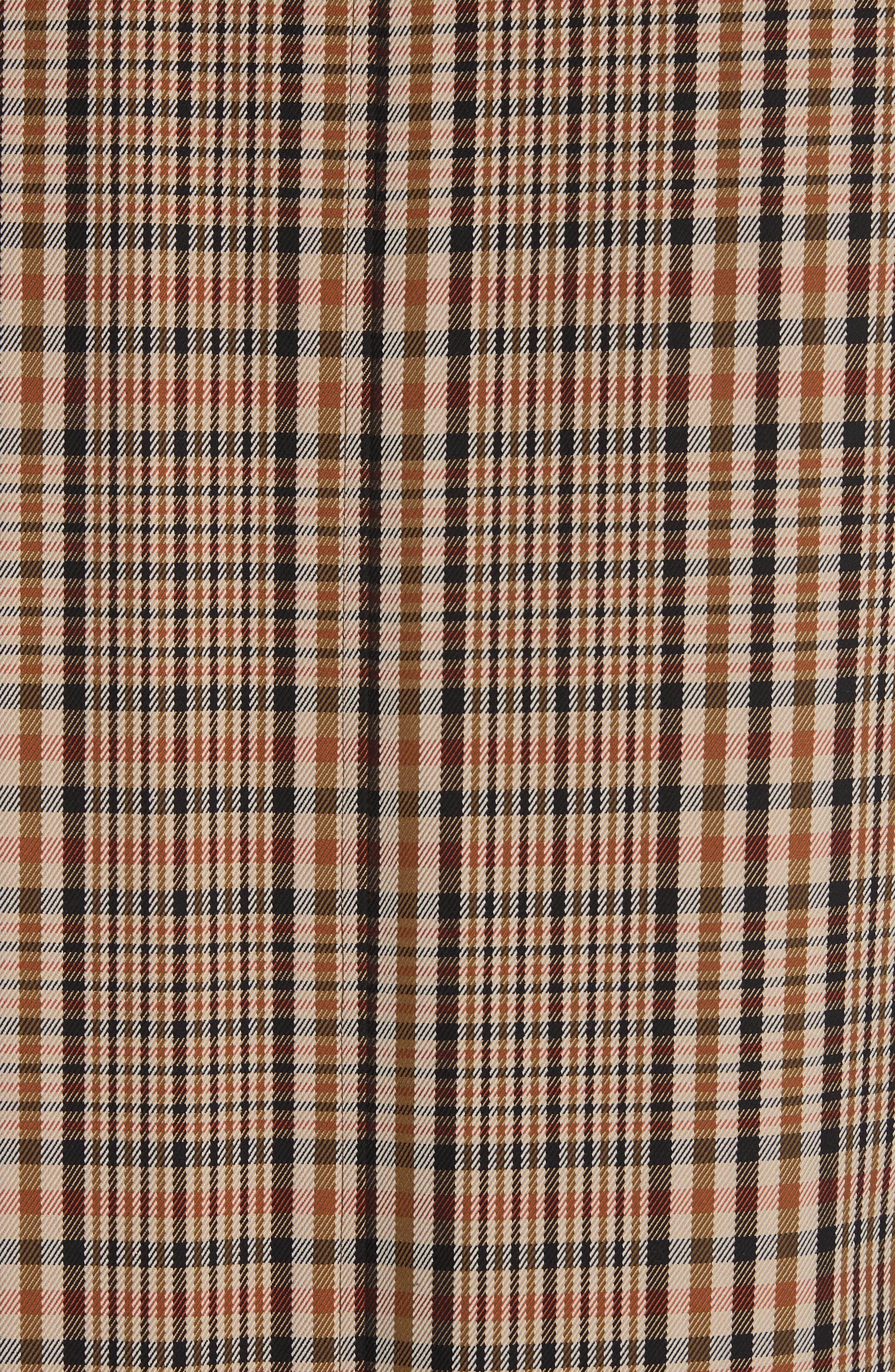 BURBERRY, Lenthorne Check Car Coat with Detachable Vest, Alternate thumbnail 8, color, DARK CAMEL